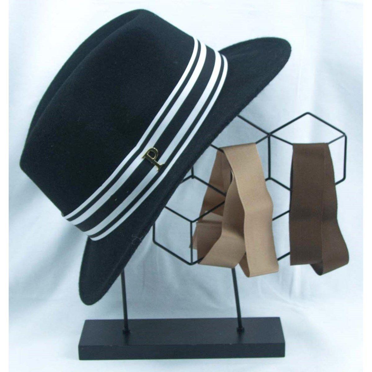 Lot chapeau feutre noir Léon et 3 rubans interchangeables