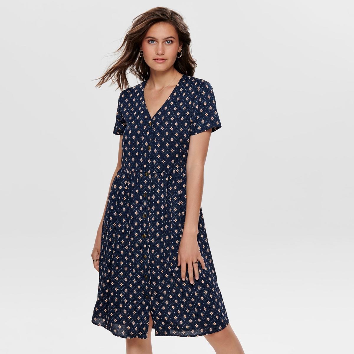 цена Платье La Redoute Короткое расклешенное с V-образным вырезом и графическим рисунком 40 (FR) - 46 (RUS) синий онлайн в 2017 году