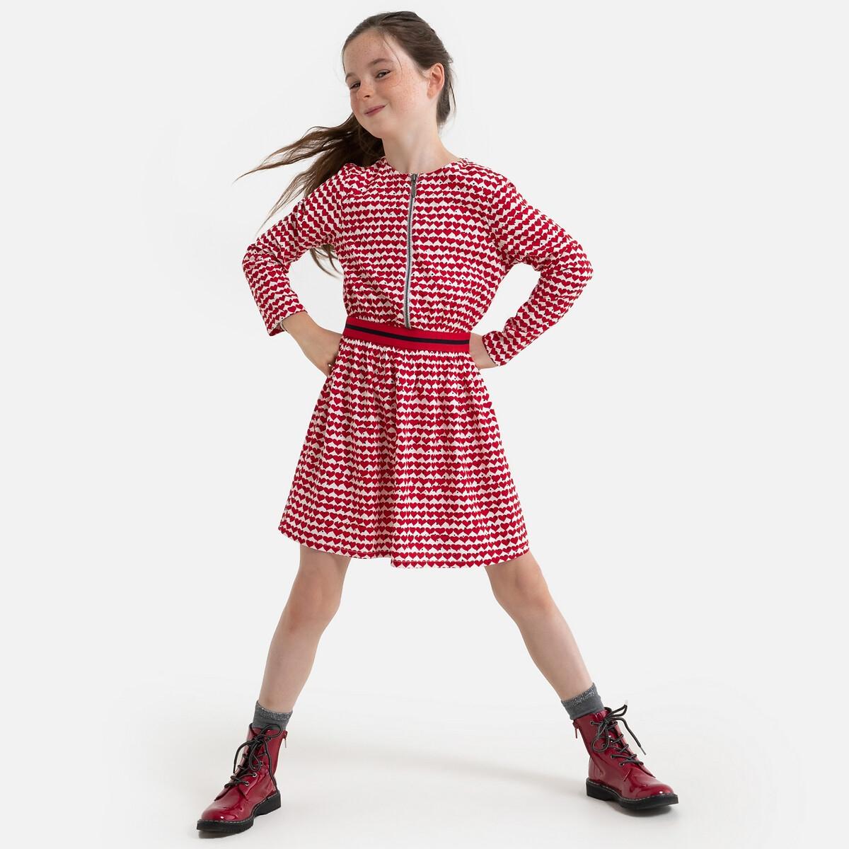 Платье LaRedoute Струящееся с длинными рукавами и рисунком 3-12 лет 4 года - 102 см красный блузка laredoute с длинными рукавами и отделкой макраме 3 12 лет 4 года 102 см бежевый