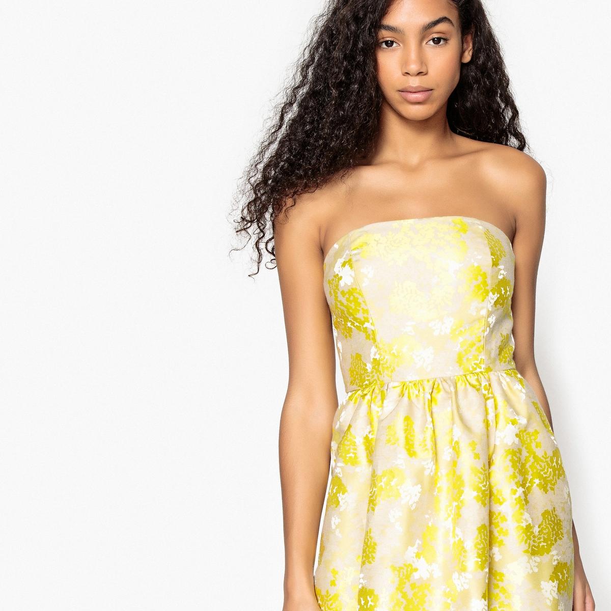 Платье-бюстье  цветочным жаккардовым рисунком  завязками на поясе