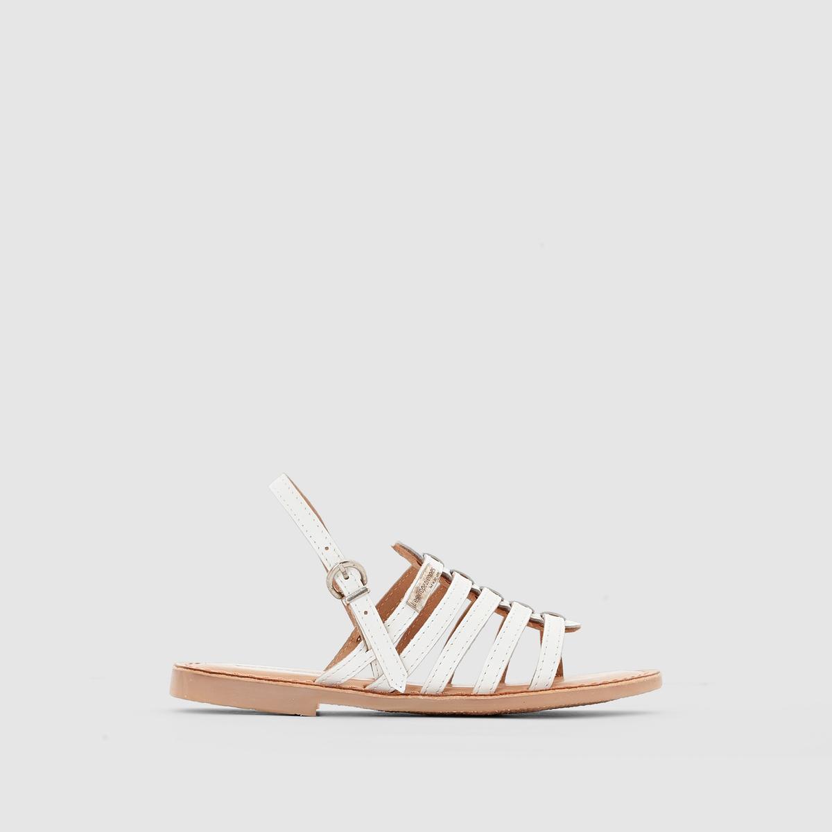 Сандалии из кожи с ремешкамиМягкие и удобные сандалии от M. Belarbi: комфорт и стиль!<br><br>Цвет: белый,темно-коричневый<br>Размер: 30.31