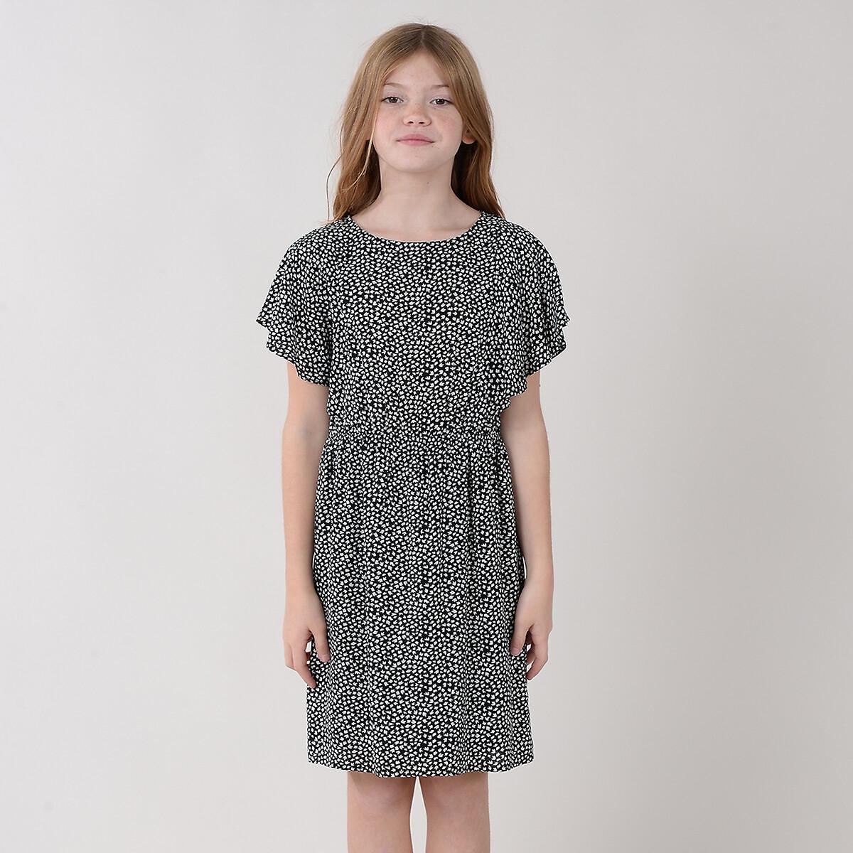 Платье LaRedoute Струящееся с принтом 4-14 лет 8/10 лет - 126/138см черный