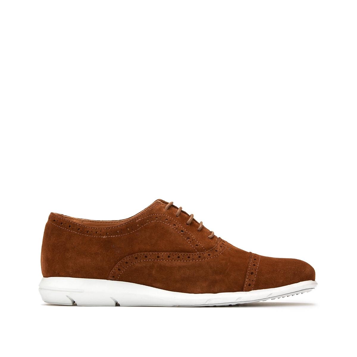 Ботинки-дерби La Redoute Кожаные 42 каштановый сапоги la redoute кожаные на меху размеры 26 каштановый