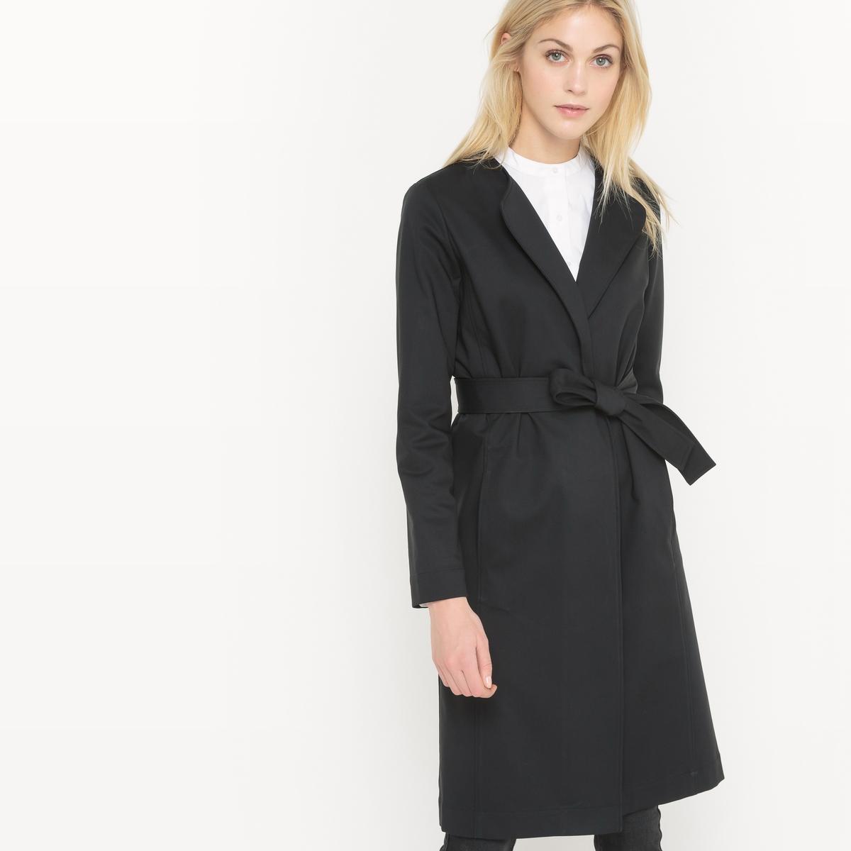 Пальто длинное с ремешком