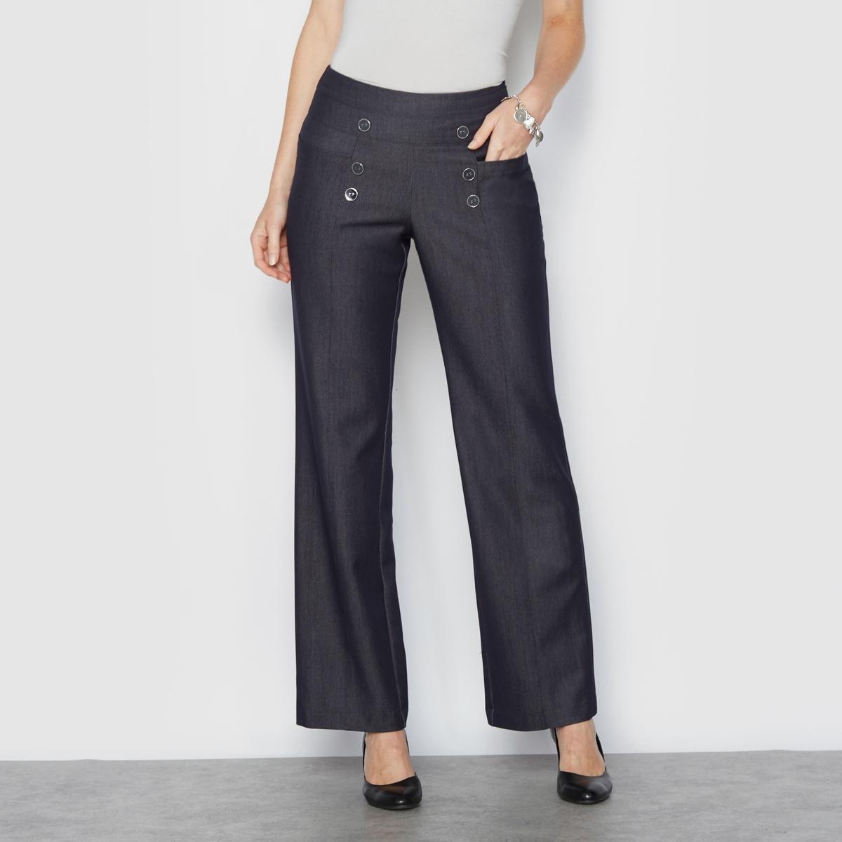 Брюки широкие с джинсовым эффектом, удобный стрейчОчень изящные широкие брюки с джинсовым эффектом. Невероятно стильные, в морском стиле. Вставка на поясе с оригинальным ремнём и пуговицами спереди. Застежка на молнию сбоку. Карманы спереди и сзади. Защипы спереди и сзади.Красивая саржа стрейч с джинсовым эффектом создаст великолепный образ и идеальный комфорт благодаря своей эластичности. Идеальный стиль, изящество и свобода движений.Состав и описание :Материал : Саржа, 80% полиэстера, 15% вискозы, 5% эластана. Длина по внутр.шву 78 см, ширина по низу 24 см.Марка : Anne WeyburnУход :Машинная стирка при 30° на умеренном режиме с изделиями схожих цветов.Гладить на низкой температуре.<br><br>Цвет: синий<br>Размер: 42 (FR) - 48 (RUS).44 (FR) - 50 (RUS).46 (FR) - 52 (RUS).50 (FR) - 56 (RUS)