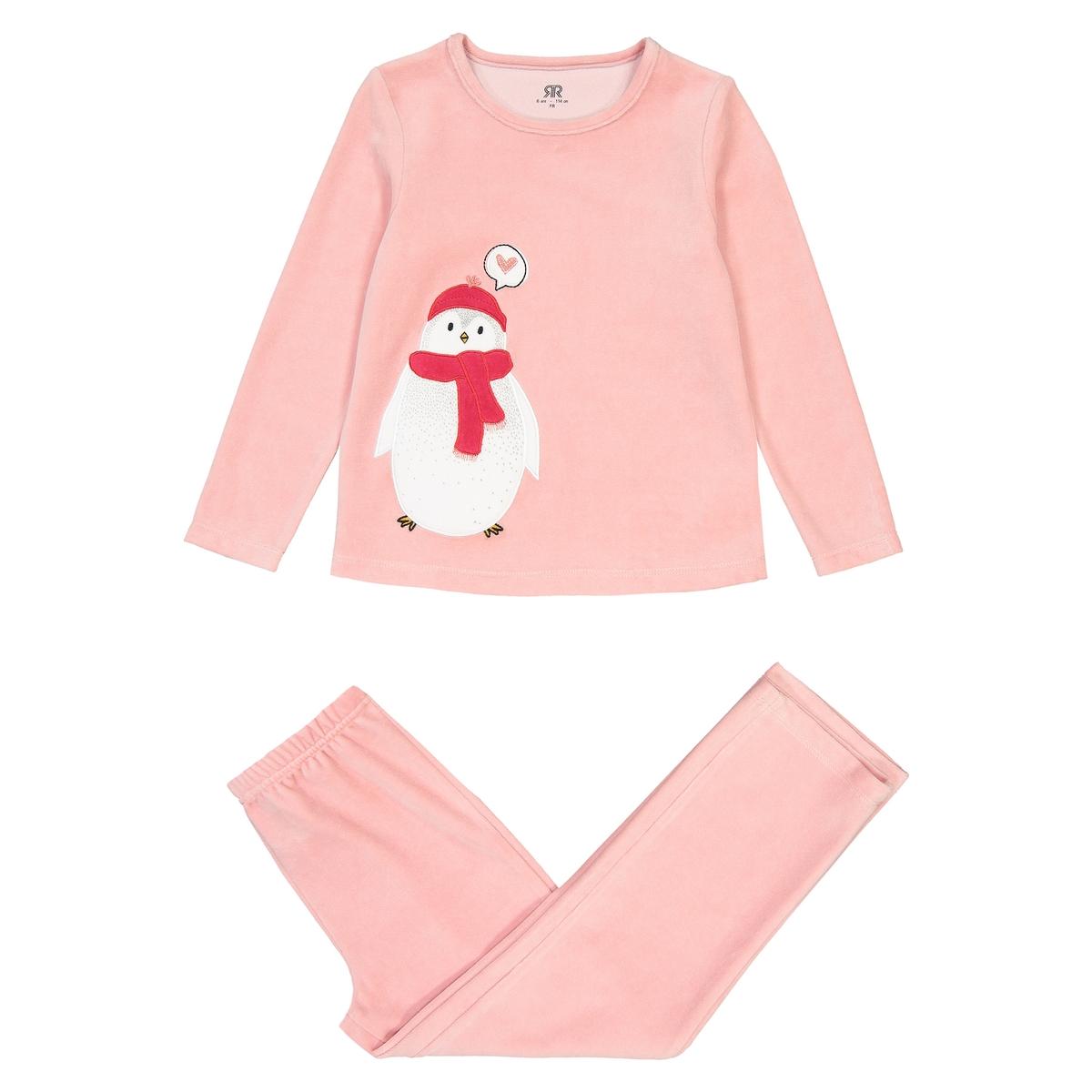Пижама La Redoute Из велюра с вышитым рисунком пингвин 12 лет -150 см розовый пижама la redoute из велюра с рисунком панда 12 лет 150 см бежевый