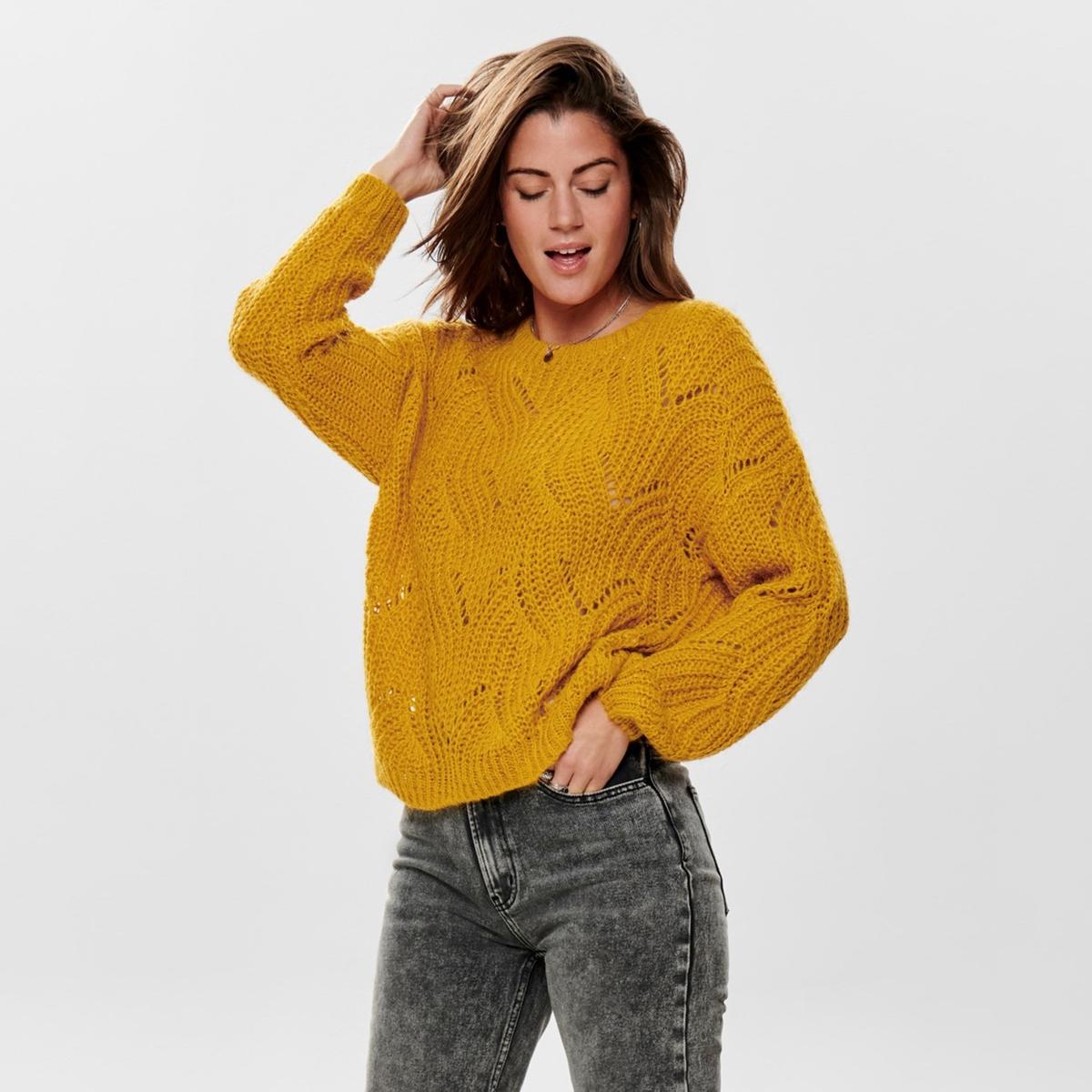 цена Пуловер La Redoute С круглым вырезом из плотного трикотажа XL желтый онлайн в 2017 году