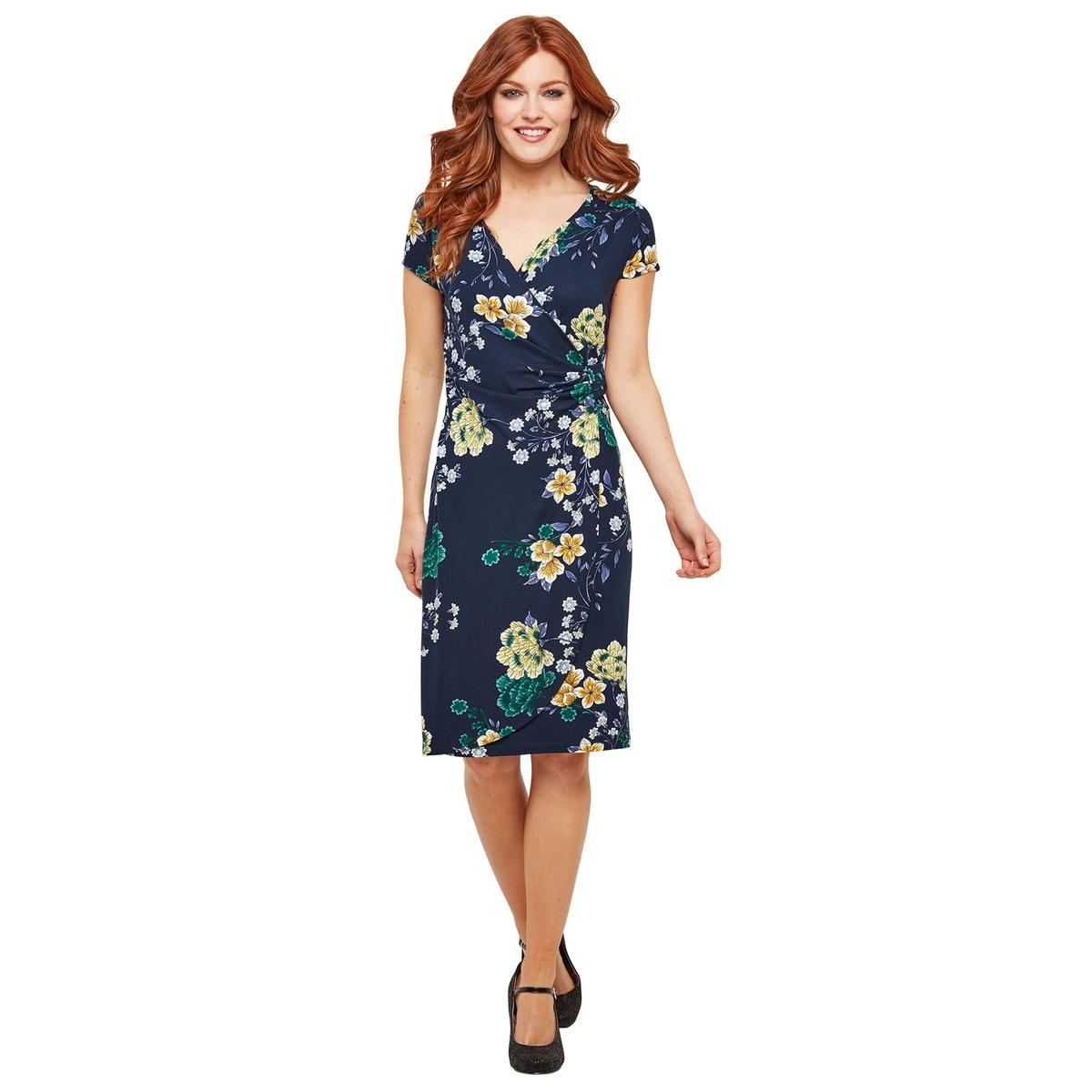 Платье La Redoute Короткое с запахом с цветочным рисунком 36 (FR) - 42 (RUS) синий стоимость