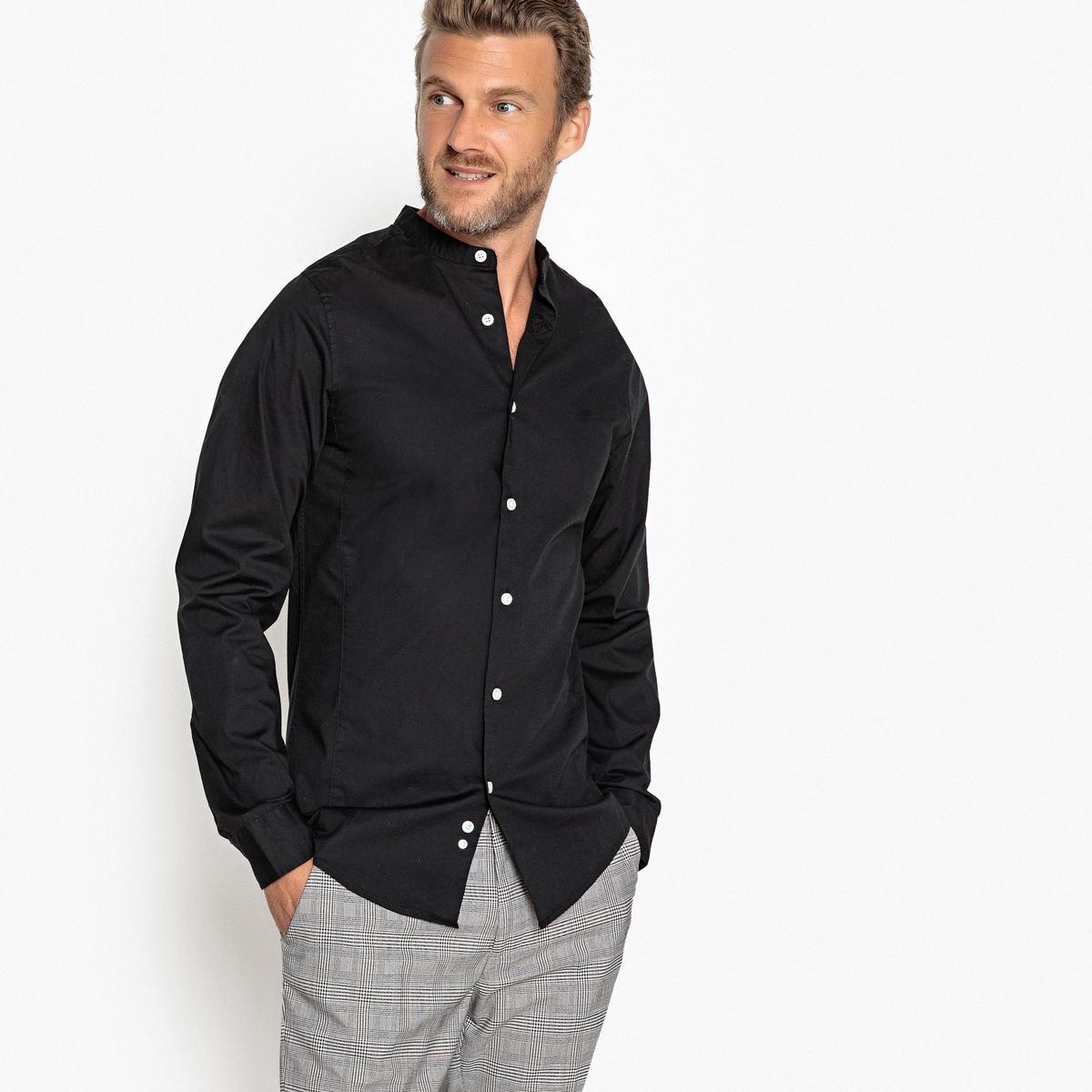 Camisa extra slim con cuello mao, de manga larga