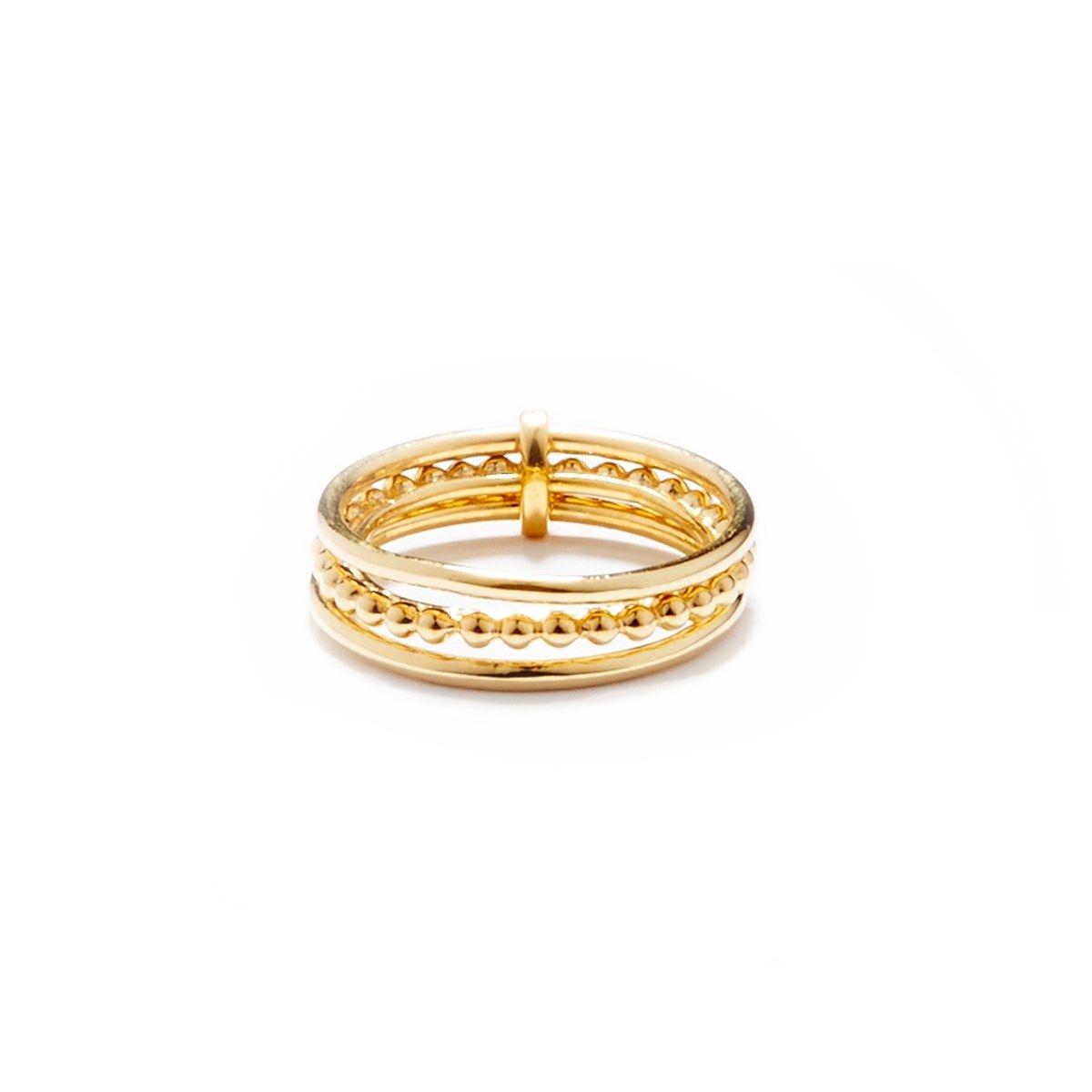 Bague en vermeil ligne de trois anneaux et perles