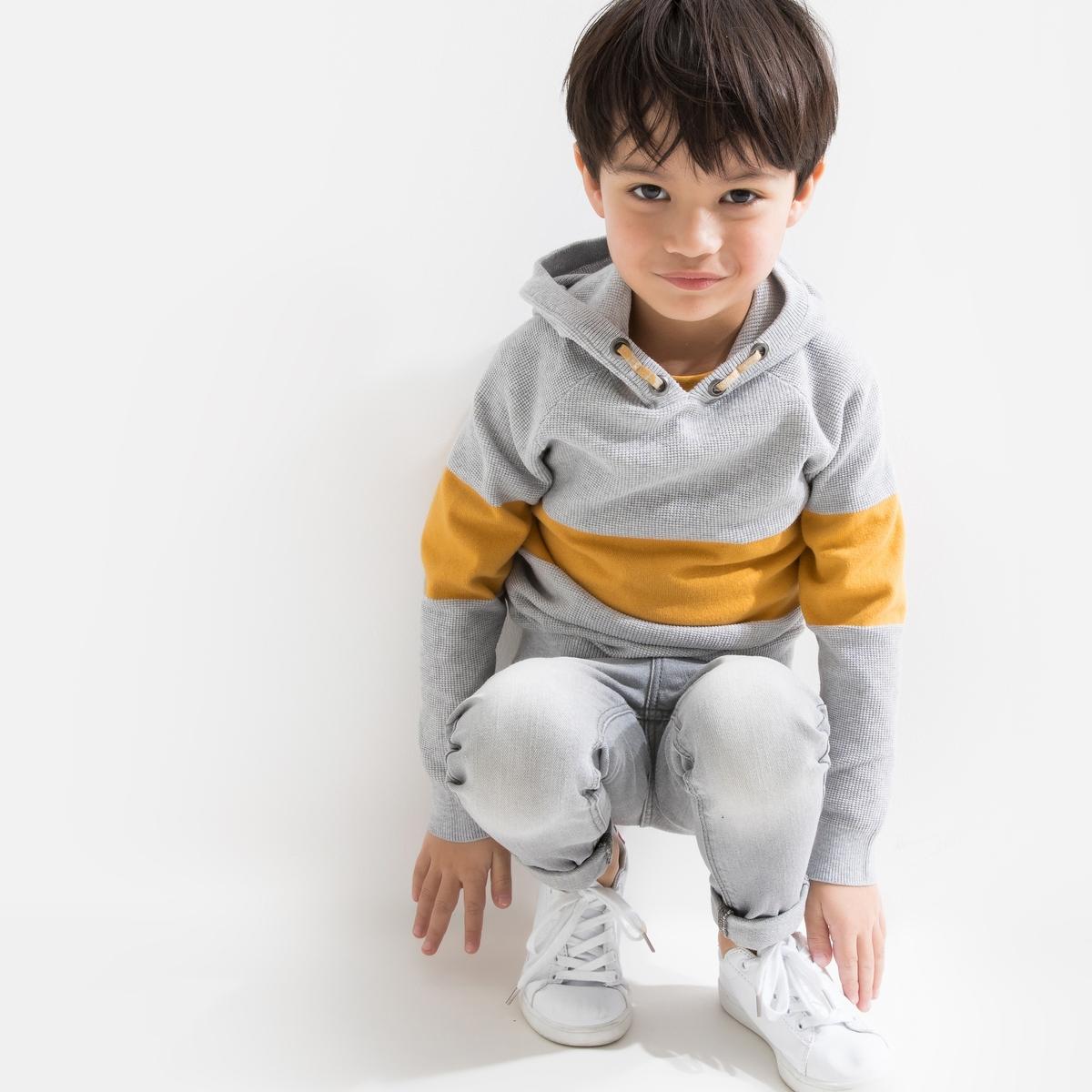 Пуловер-свитшот La Redoute С капюшоном с контрастной полоской 12 лет -150 см серый пижама la redoute с надписью 12 лет 150 см серый