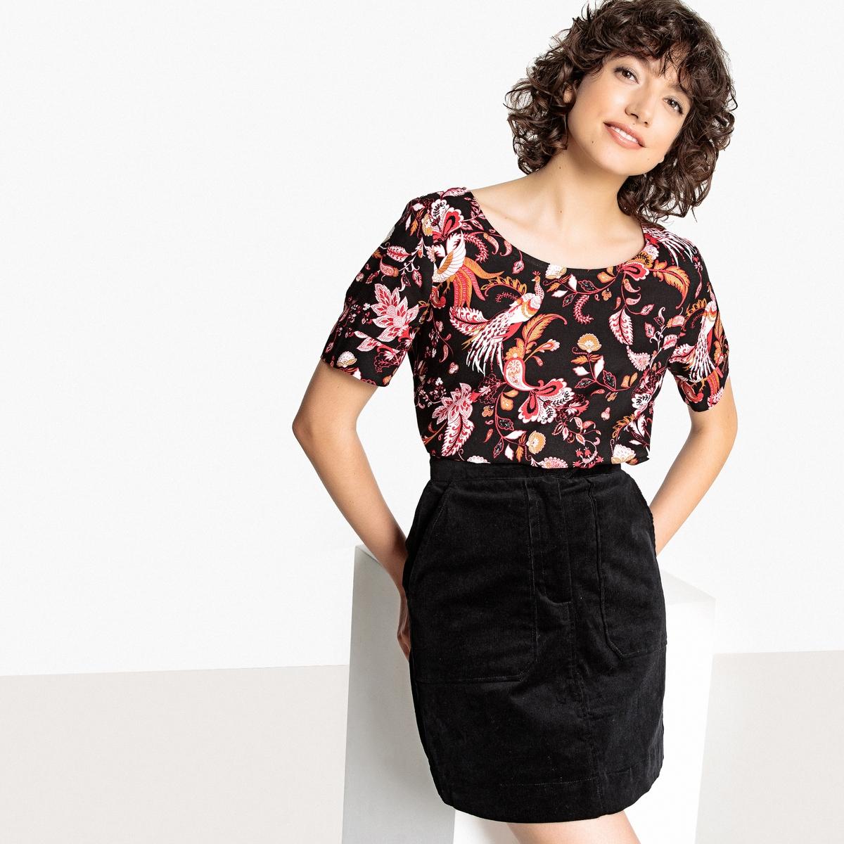 Блузка La Redoute С круглым вырезом графическим рисунком и короткими рукавами 34 (FR) - 40 (RUS) черный блузка la redoute с круглым вырезом без рукавов 50 fr 56 rus черный