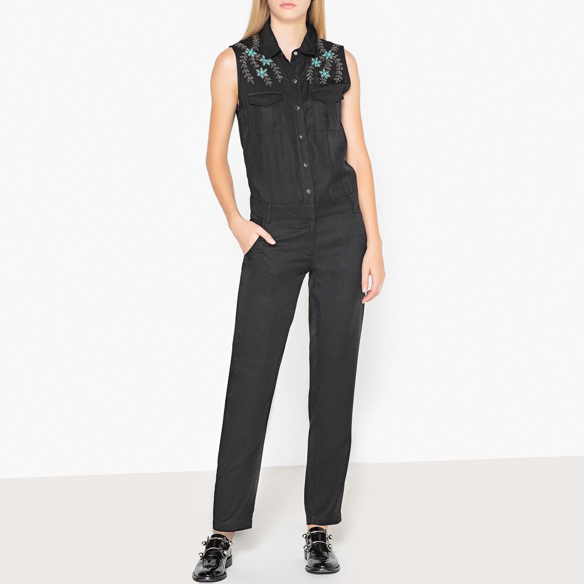 Комбинезон La Redoute С вышивкой без рукавов M черный цена
