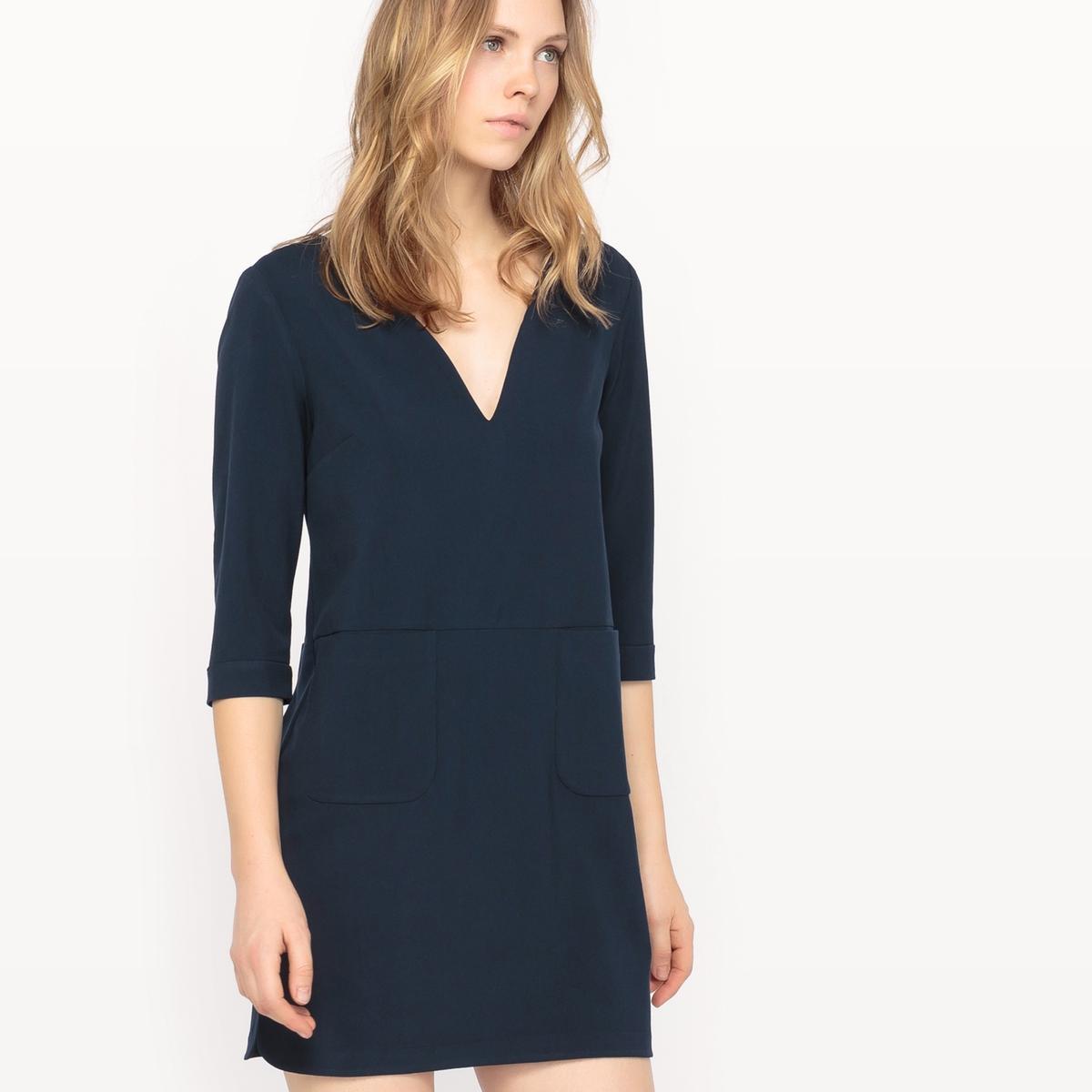 Платье с рукавами 3/4 и открытой спинкойМатериал : 25% хлопка, 3% эластана, 72% полиэстера Подкладка : 100% хлопок Длина рукава : рукава ?  Форма воротника : V-образный вырез Покрой платья : платье прямого покроя  Рисунок : однотонная модель  Особенность платья : с волокнами с металлическим блеском Длина платья : длина до колен<br><br>Цвет: темно-синий