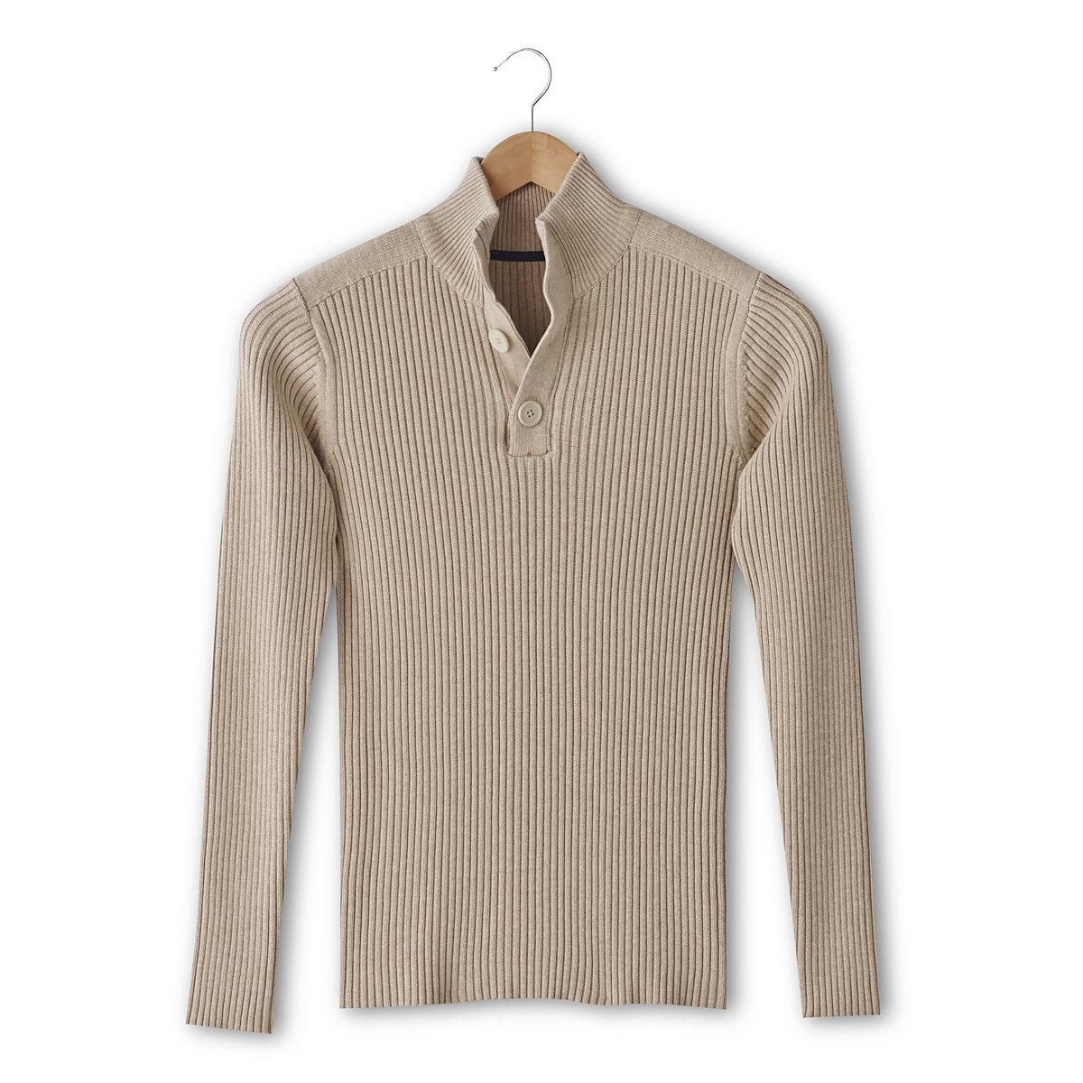 Пуловер c высокм воротником и застежкой на пуговицы, 100% хлопокВысокий воротник с репсовой планкой застежки на пуговицы. Трикотаж в рубчик, 100% хлопка. Вставки из гладкого джерси на плечах. Длина 72 см.<br><br>Цвет: бежевый меланж