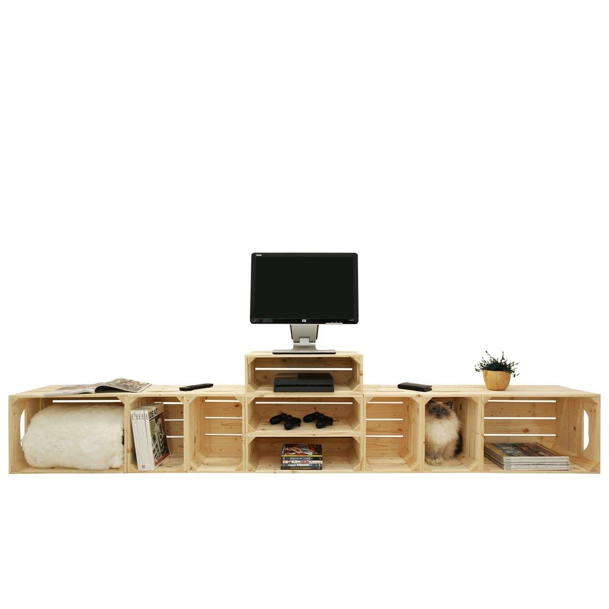 Meuble TV modulable 9 niches de rangement
