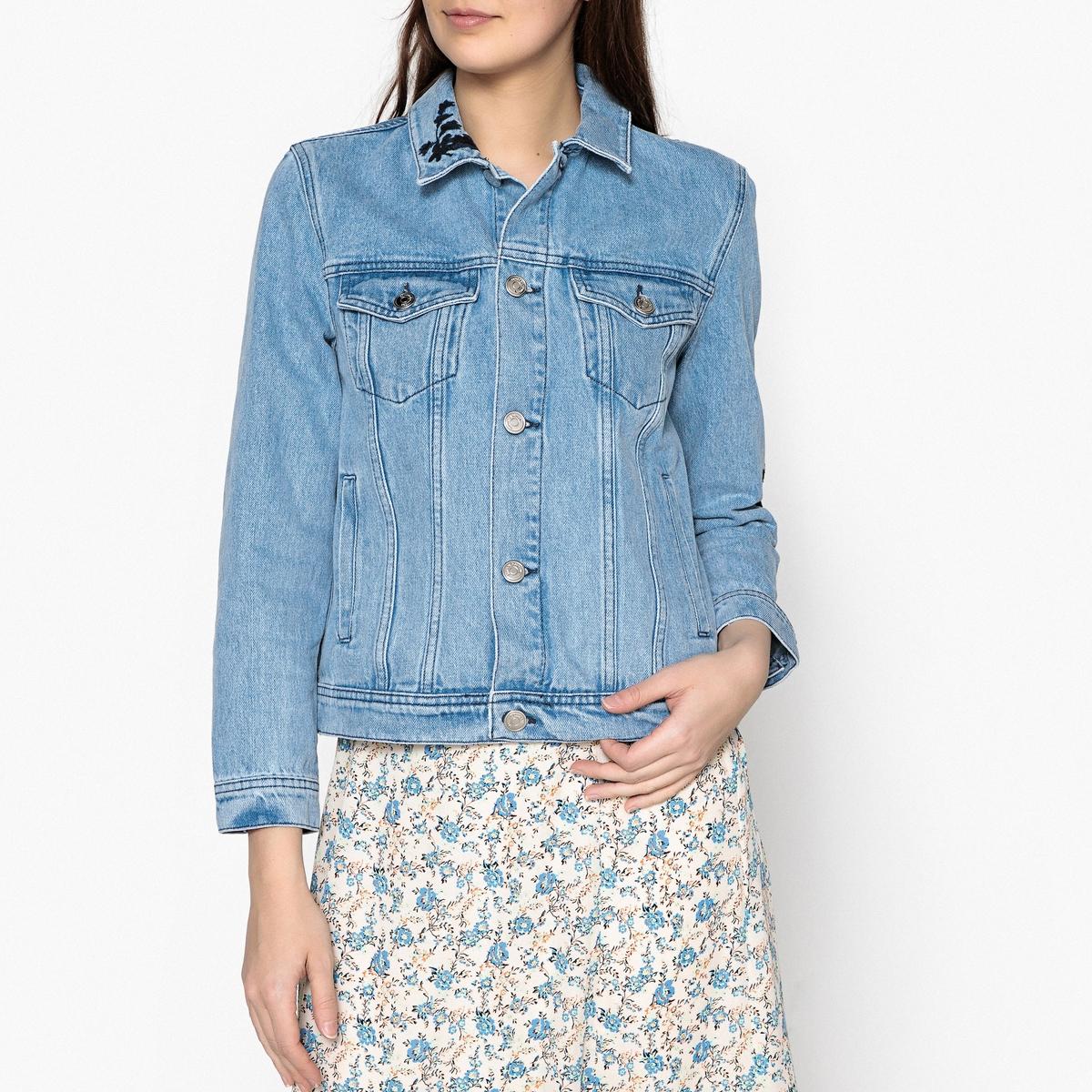 Жакет приталенный джинсовый с вышивкой JAYDA etro жакет с вышивкой