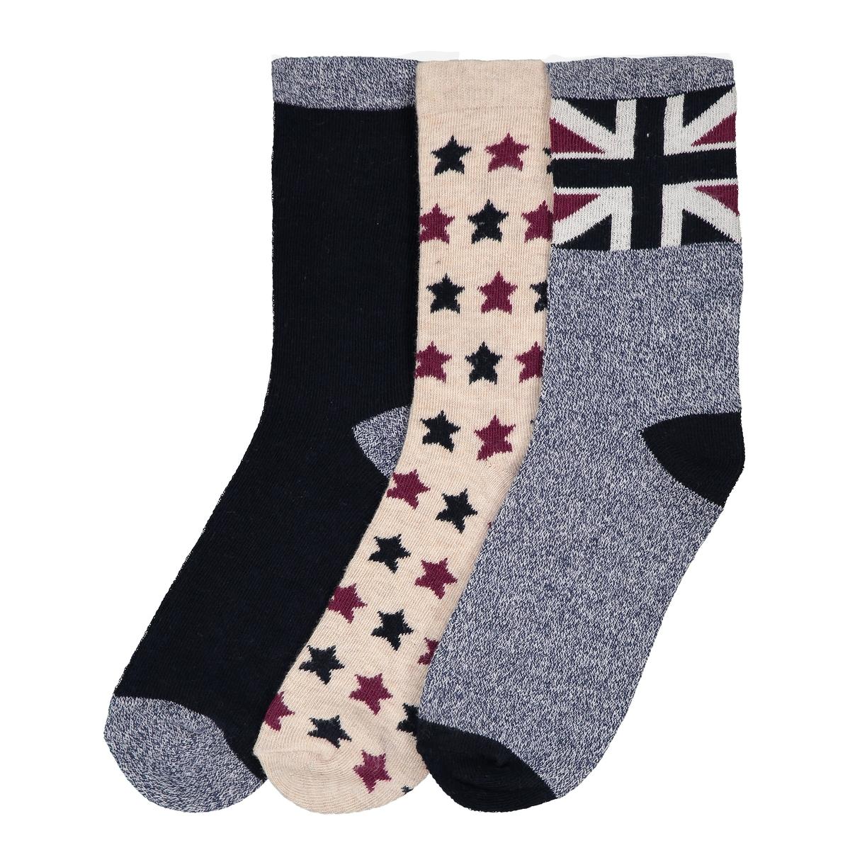 цена на Комплект из пар носков La Redoute Высоких - 27/30 синий
