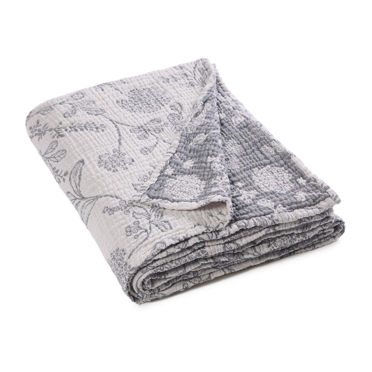 Плед LaRedoute Из хлопчатобумажной газовой ткани Fiori 130 x 165 см серый