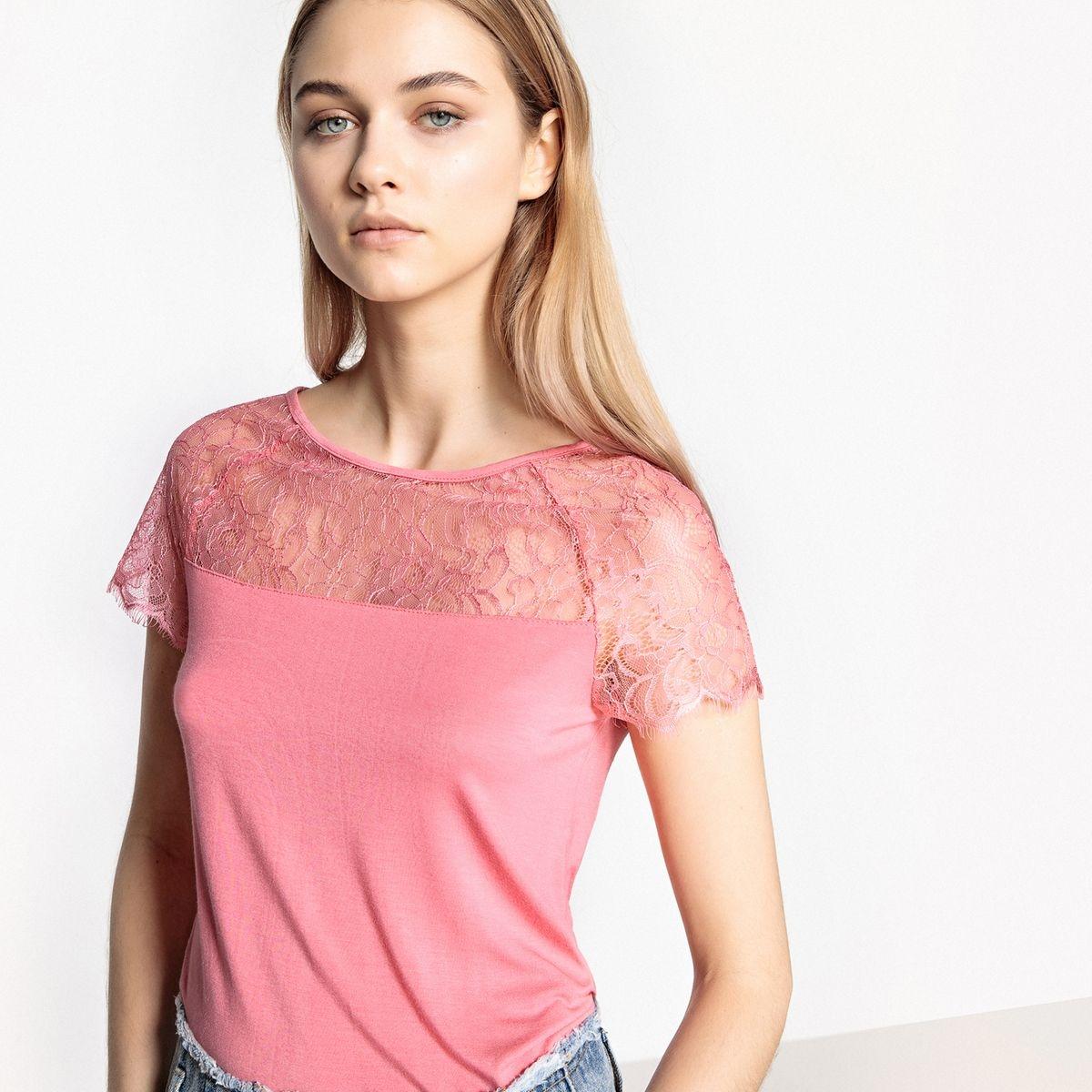 T-shirt plastron dentelle col rond manches courtes