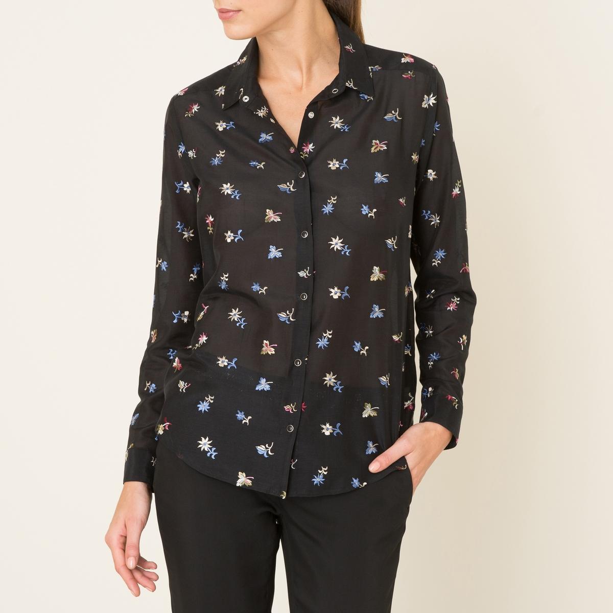 Рубашка с вышивкойСостав и описание    Материал : 70% хлопка, 30% шелка   Марка : THE KOOPLES<br><br>Цвет: черный
