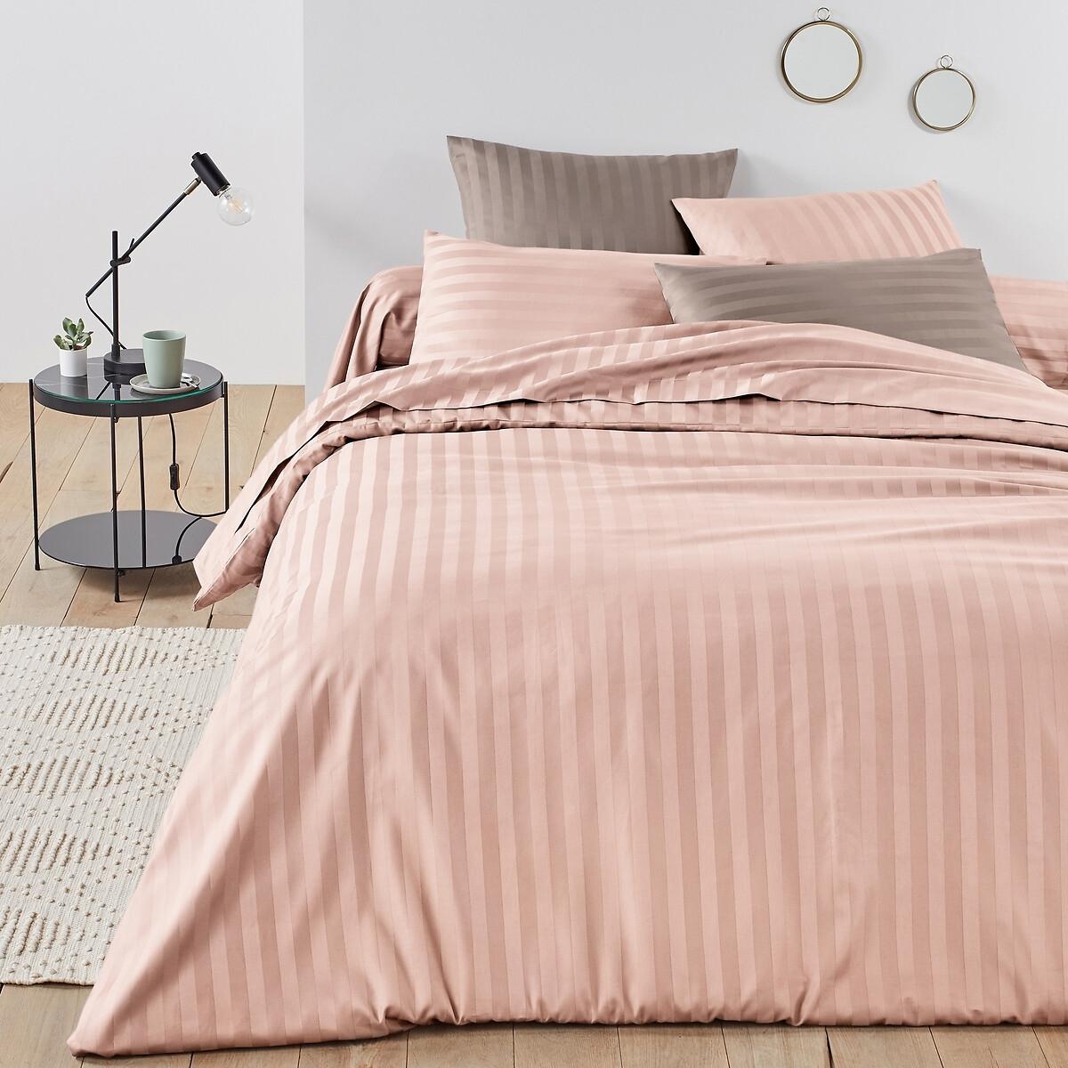 Пододеяльник LaRedoute Из хлопкового сатина с тканым рисунком в полоску 200 x см розовый