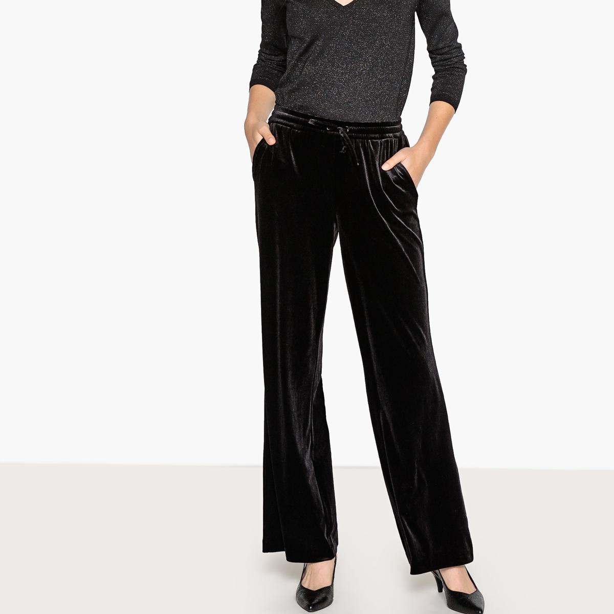 Брюки широкие из велюра брюки из саржи би стрейч длина по внутр шву 78 см