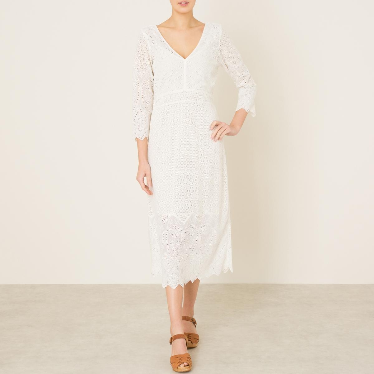 Платье с рукавами 3/4 с ажурной отделкой гипюромСостав и описание   Материал : 80% хлопок, 20% полиэстер.   Марка : STELLA FOREST<br><br>Цвет: экрю<br>Размер: 40 (FR) - 46 (RUS)