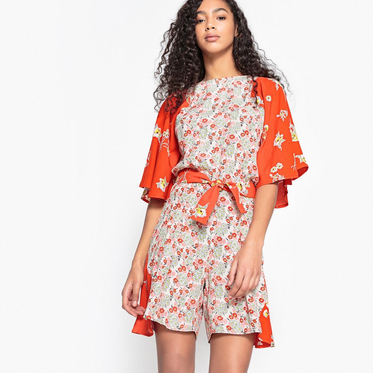 Комбинезон с шортами с разрезом сзади и цветочным рисунком