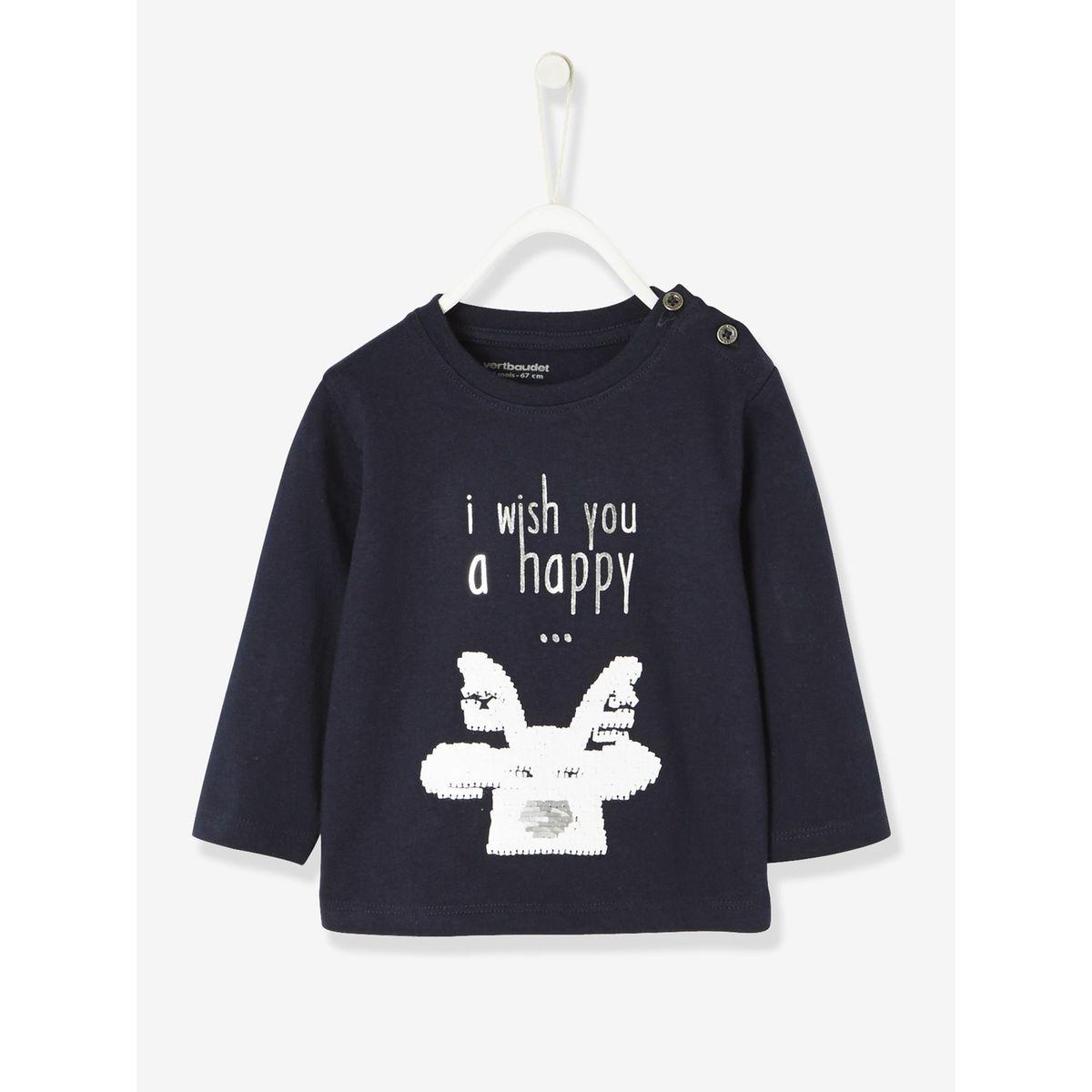 T-shirt de fête bébé garçon renne à sequins réversibles