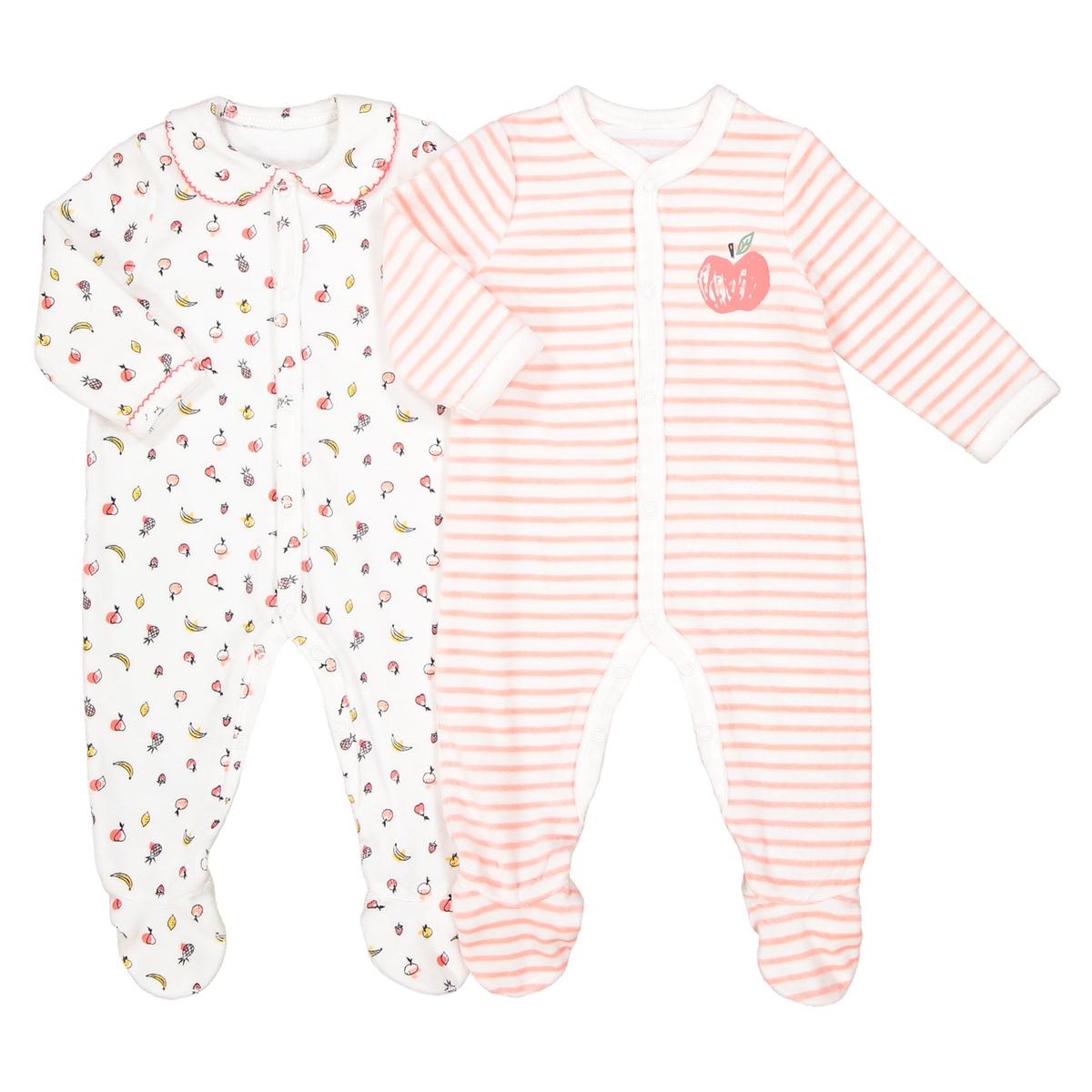 Комплект из 2 пижам из велюра, 0 мес. - 3 годаОписание:2 пижамы из очень мягкого велюра. Застежка спереди : очень удобно для переодевания малыша в первые месяцы жизни. Детали •  2 пижамы : 1 пижама с мелким рисунком + 1 пижама в полоску с рисунком Яблоко. •  Длинные рукава. •  Круглый вырез. •  Носки с противоскользящими элементами для размеров от 12 месяцев  (74 см).Состав и уход •  Материал : 75% хлопка, 25% полиэстера. •  Стирать при температуре 30° на деликатном режиме с вещами схожих цветов. •  Стирать и гладить с изнанки при низкой температуре. •  Деликатная сушка в машинке.Товарный знак Oeko-Tex® . Знак Oeko-Tex® гарантирует, что товары прошли проверку и были изготовлены без применения вредных для здоровья человека веществ.<br><br>Цвет: оранжевый + экрю<br>Размер: 18 мес. - 81 см.1 год - 74 см.9 мес. - 71 см.6 мес. - 67 см.3 мес. - 60 см.0 мес. - 50 см.рожденные раньше срока