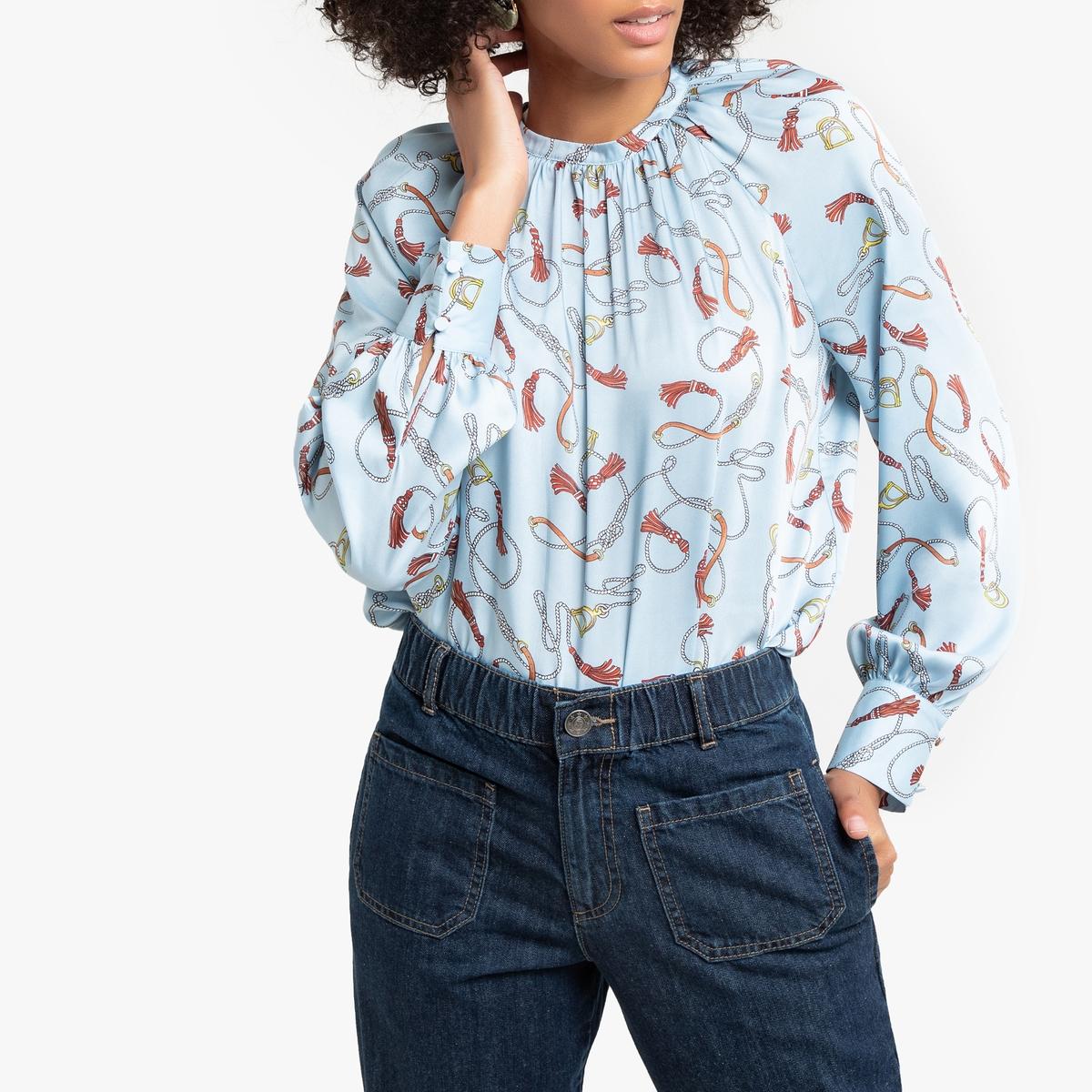 Blusa estampada con cuello redondo, de manga larga