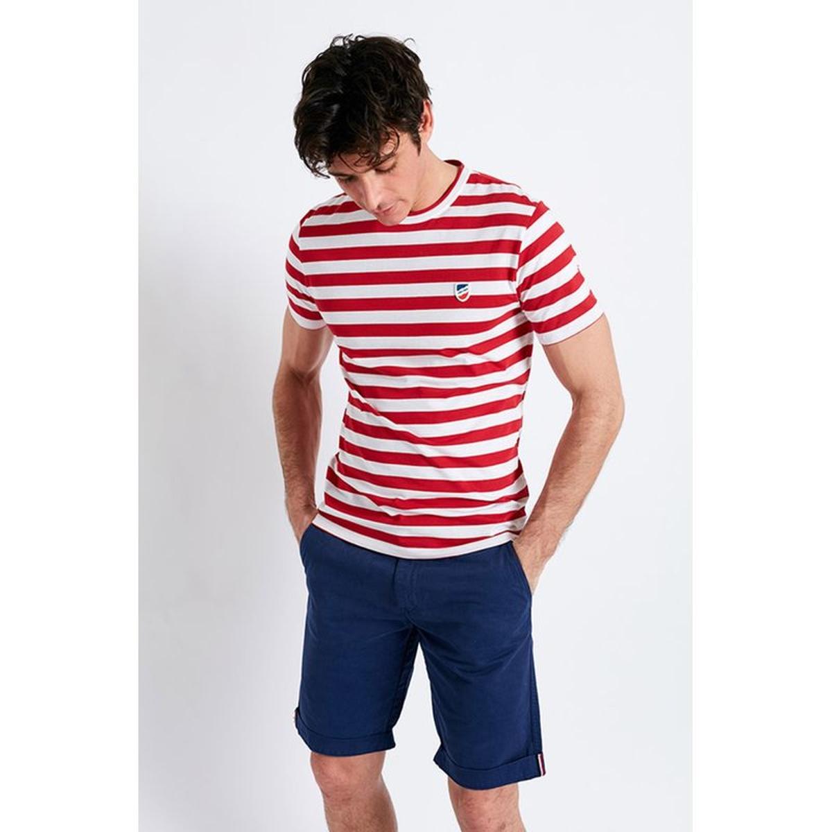 T-shirt manches courtes Marinière Rouge écusson