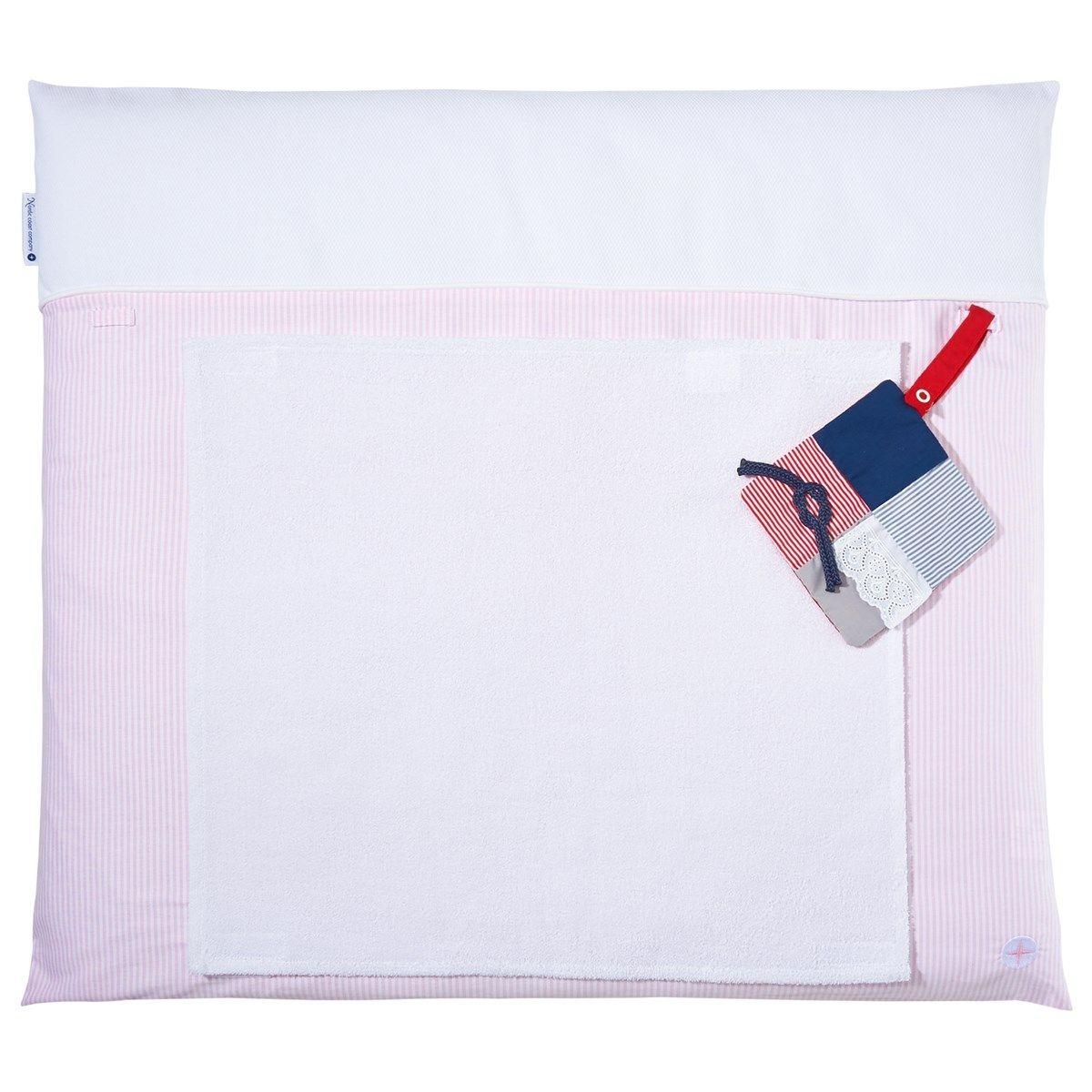 Matelas à langer 70x80cm lavable tissu en rose avec serviette imperméable