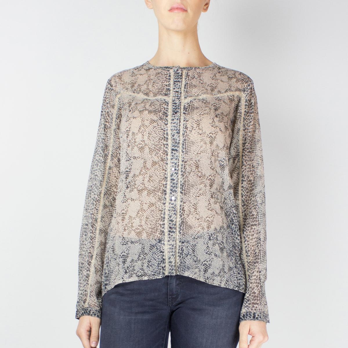 Blusa transparente, estampado pitão