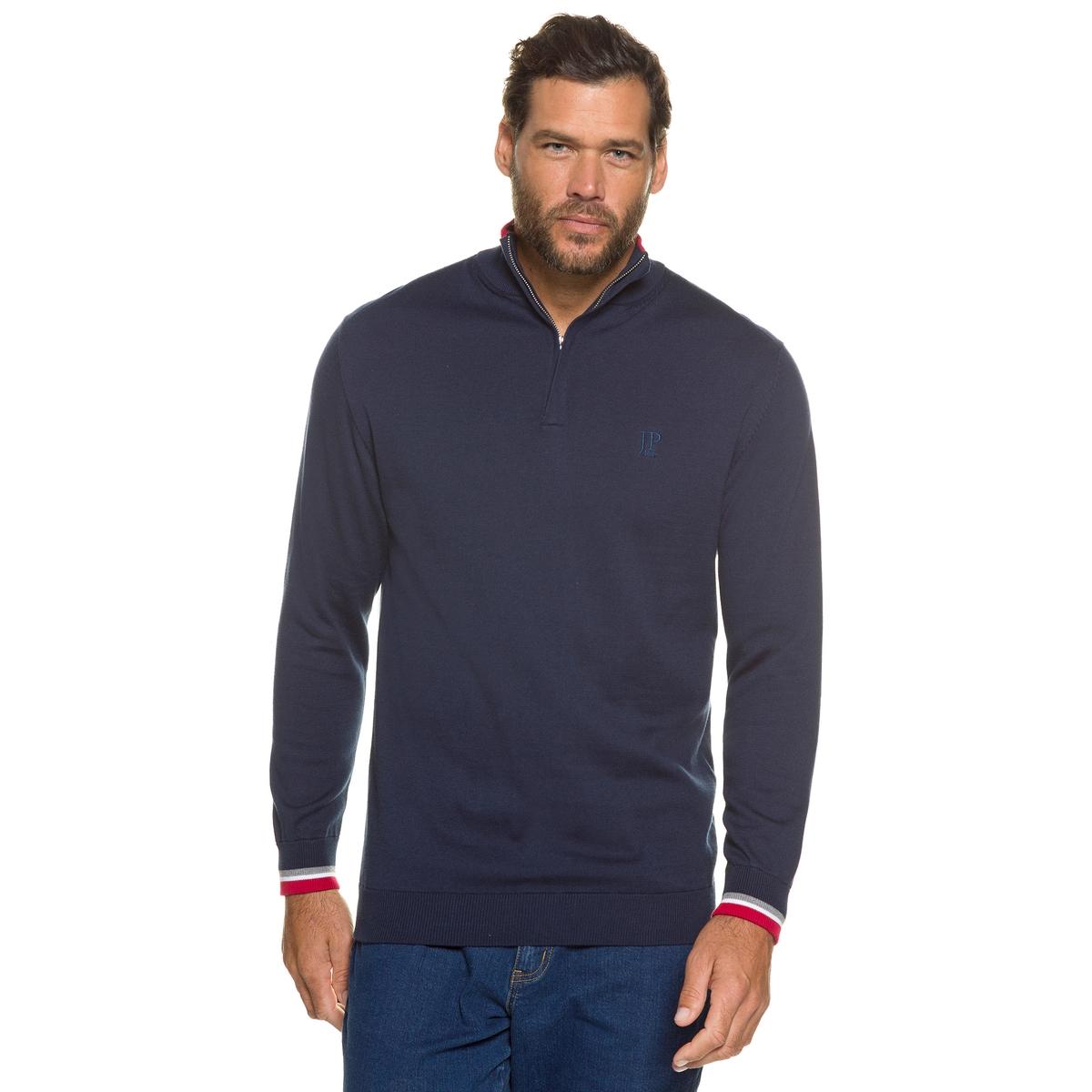ПуловерПуловер с воротником на молнии JP1880, идеальный пуловер для настоящего мужчины. Рисунок в полоску на воротнике (с потайной застёжкой на молнию) и манжетах. 100% хлопок. Длина в зависимости от размера. 72 - 86 см<br><br>Цвет: синий<br>Размер: 7XL.3XL.5XL.4XL