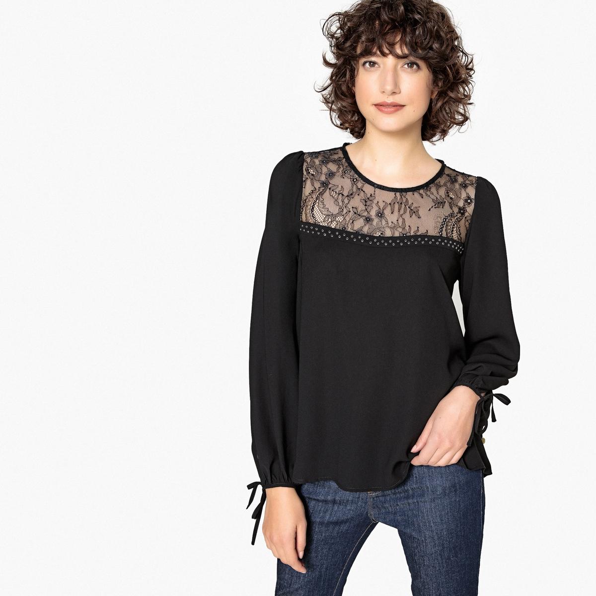 Imagen principal de producto de Blusa con cuello de encaje y cordones en los bajos - Pepe Jeans