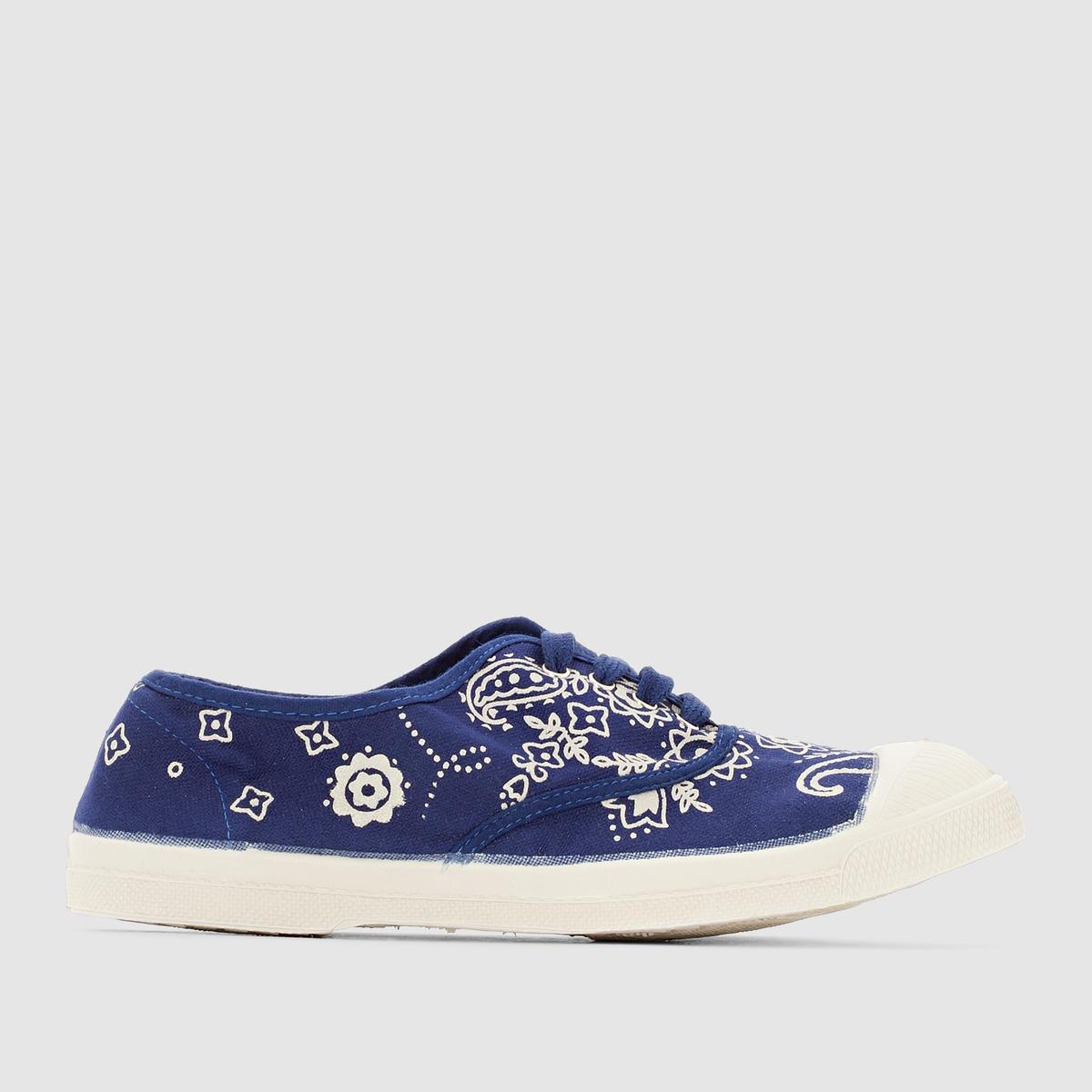 Кеды BandanaПреимущества : Кеды низкие от марки BENSIMON, из потрясающей ткани с декоративным контрастным узором на темно-синем фоне.<br><br>Цвет: темно-синий<br>Размер: 35