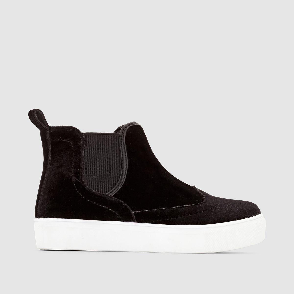 Кеды из замши в стиле челсиПрекрасная модель в стиле челси, контрастная подошва, комфортные и классные кеды:их надевают, не задумываясь, с джинсами или юбкой !<br><br>Цвет: черный<br>Размер: 34.32