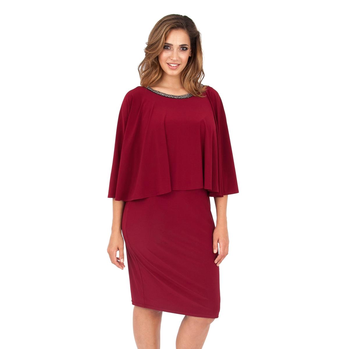 ПлатьеПлатье - KOKO BY KOKO. Платье 2 в 1 красивого малинового цвета с декорированным бусинами вырезом. Длина ок.104 см. 100% полиэстера.<br><br>Цвет: бордовый<br>Размер: 50/52 (FR) - 56/58 (RUS)
