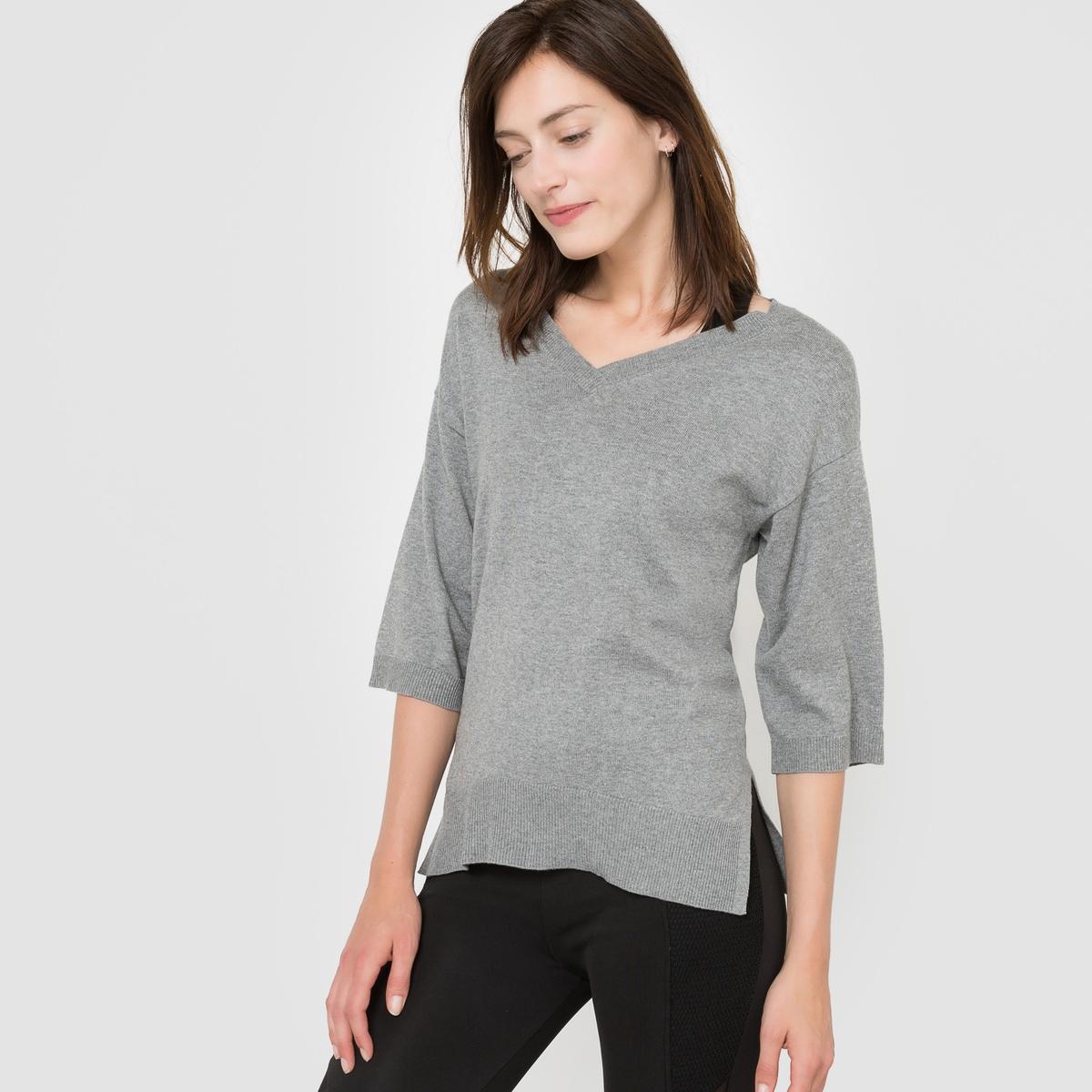Пуловер с V-образным вырезом из хлопка/кашемираСостав и описаниеМатериал: 95% хлопка, 5% кашемира.Длина: 67 см.Марка:R essentiel.  УходМашинная стирка при 30° с одеждой подобных цветов.Стирать и гладить с изнанки.<br><br>Цвет: серый меланж