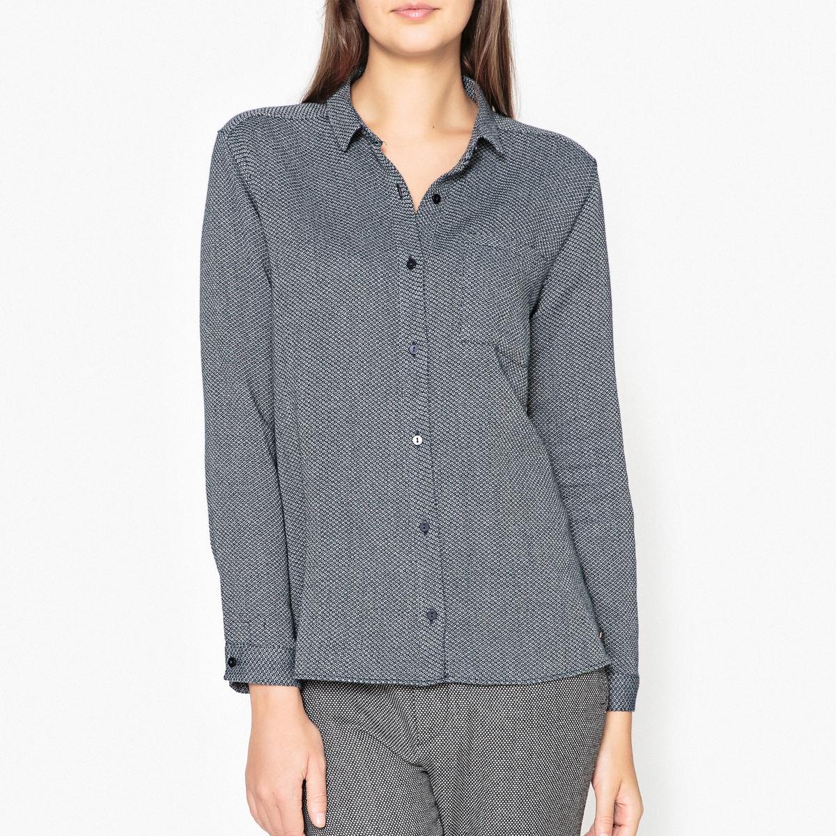 Рубашка из 100% хлопка CASILEРубашка с длинными рукавами HARRIS WILSON - модель CASILDE из жаккардовой двухцветной ткани из 100% хлопка.Описание •  Длинные рукава  •  Прямой покрой  •  Воротник-поло, рубашечный Состав и уход •  100% хлопок  •  Следуйте рекомендациям по уходу, указанным на этикетке изделия   •  Карман на груди •  Манжеты на пуговицах •  Низ слегка закругленный •  Складки сзади.Характеристики<br><br>Цвет: синий/ белый<br>Размер: M