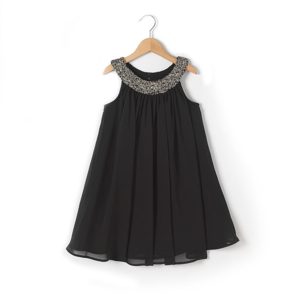 Платье с украшениемДля возраста от 3 до 5 лет украшение заменено на принт по причинам безопасности.<br><br>Цвет: черный<br>Размер: 8 лет - 126 см