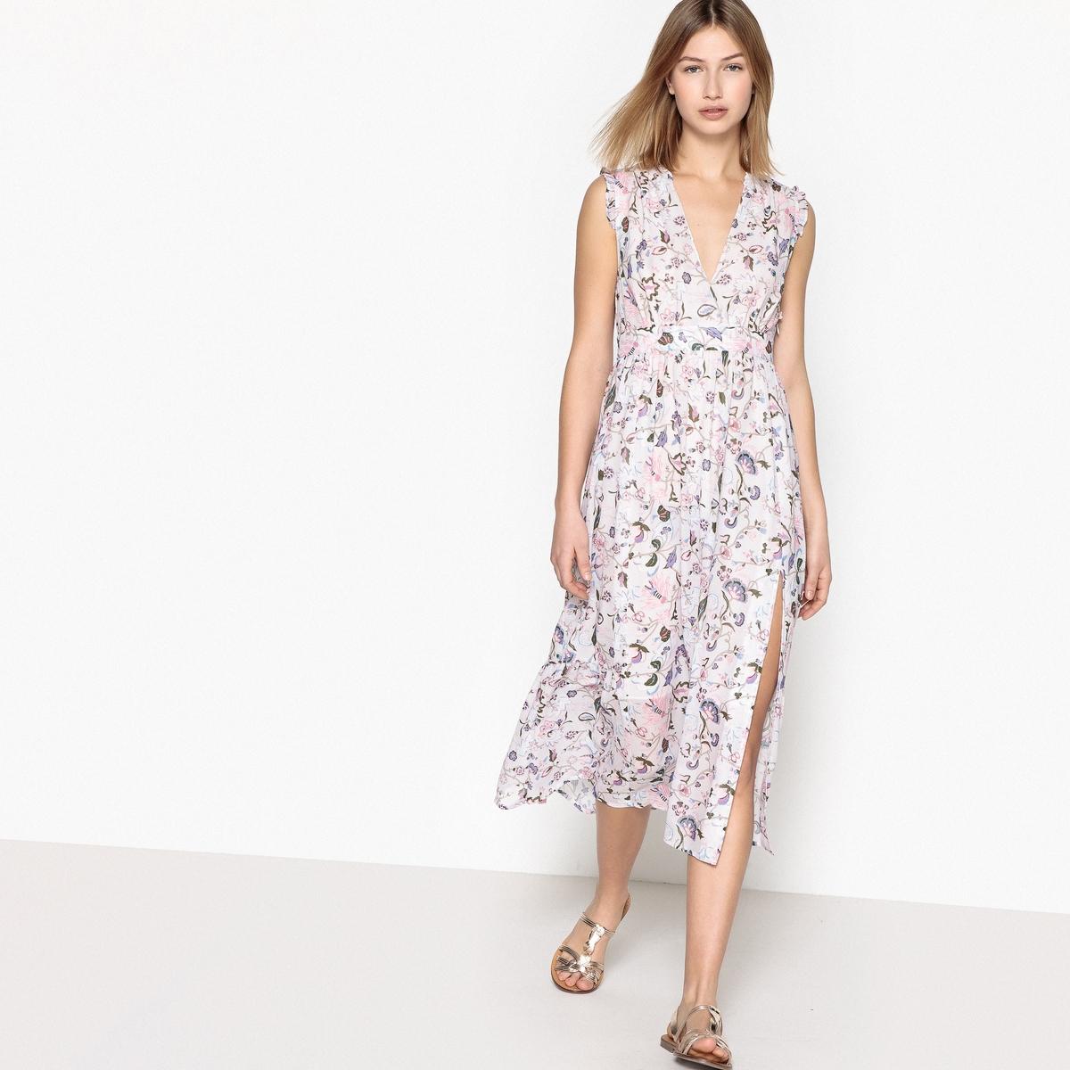 Rozszerzana sukienka w kwiaty z długim rękawem