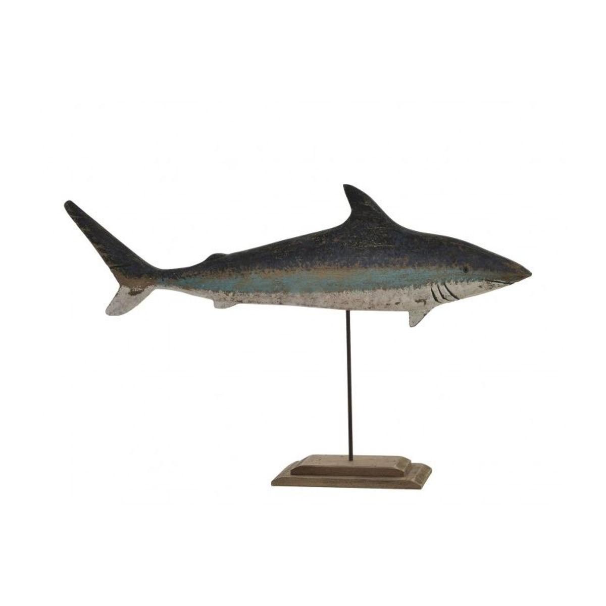 Statue Déco à Poser en Bois et Métal Requin