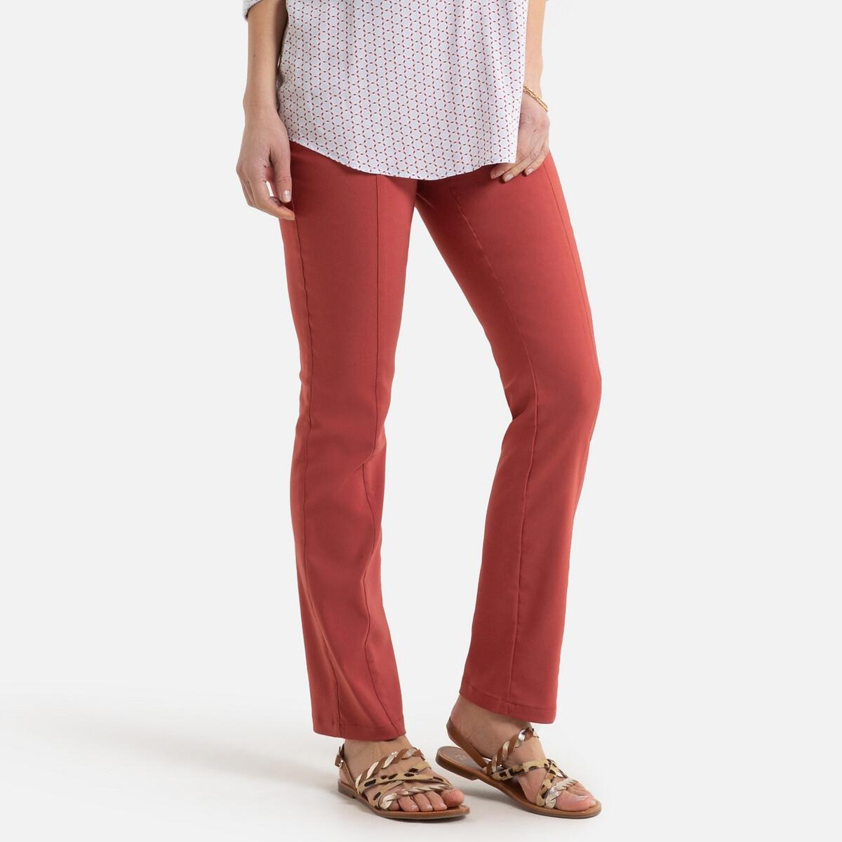 Фото - Брюки LaRedoute В городском стиле из ткани стретч с эластичными вставками на поясе 52 (FR) - 58 (RUS) красный брюки в городском стиле из ткани стретч с удлиняющими вырезами