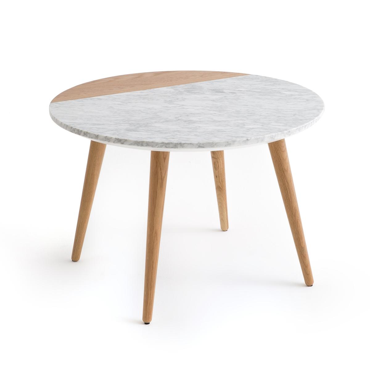 Стол журнальный со столешницей из белого мрамора и дуба, CRUESO столик журнальный квадратный из массива дуба crueso