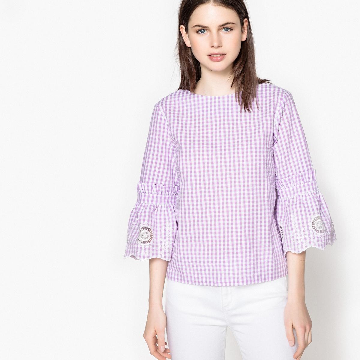 Блузка La Redoute С принтом виши объемные рукава с вышивкой 34 (FR) - 40 (RUS) розовый виши 48 часов цена
