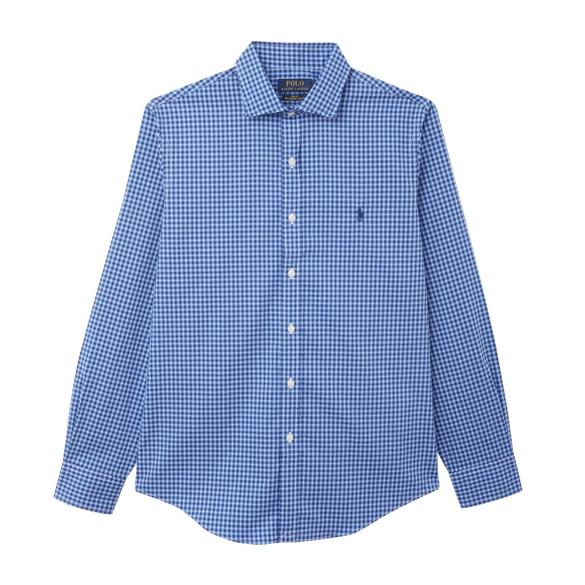 где купить Рубашка La Redoute Слим из поплина стрейч в клетку S синий дешево