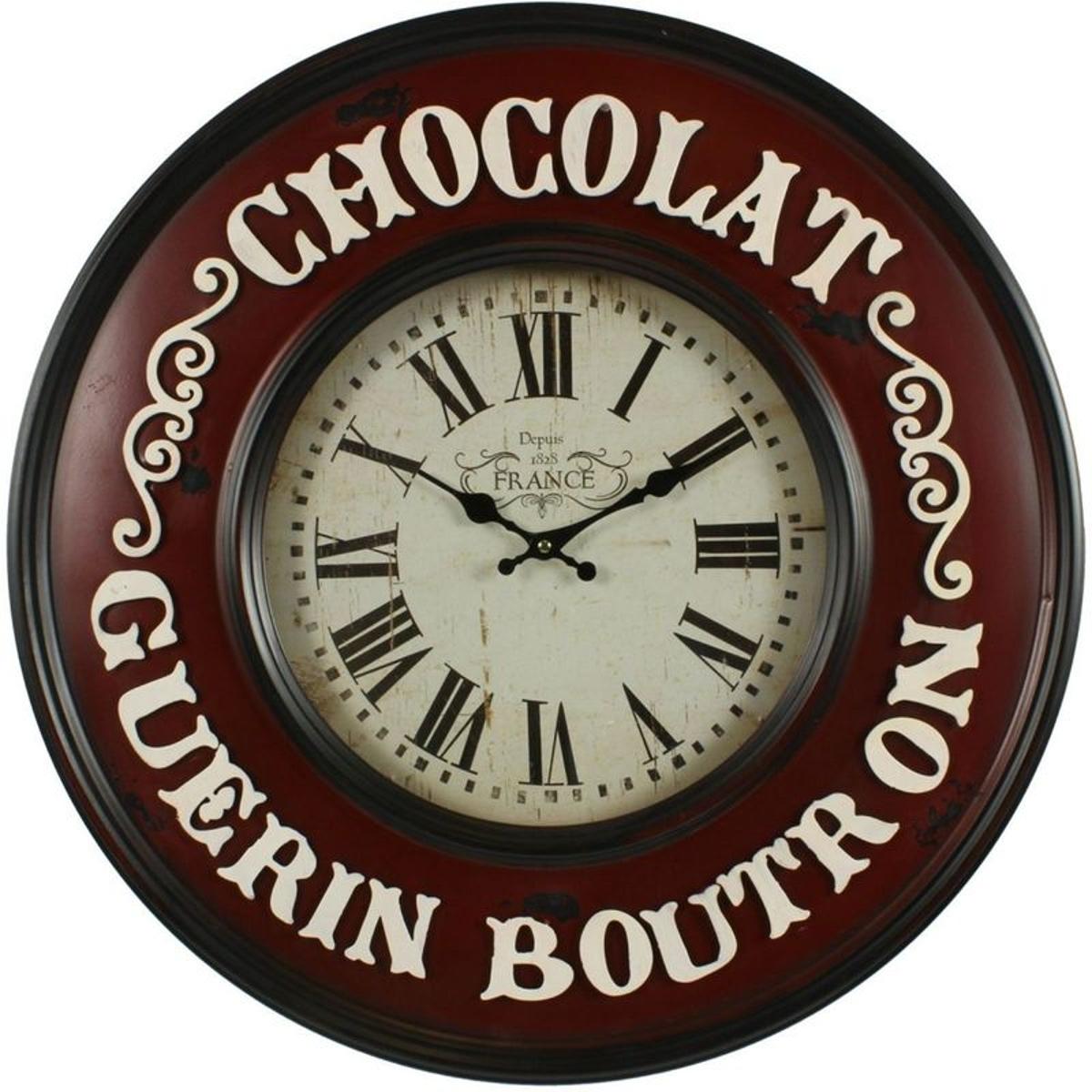 Décoration d'Autrefois - Horloge Ancienne Murale Chocolat Guerin-Boutron 59cm